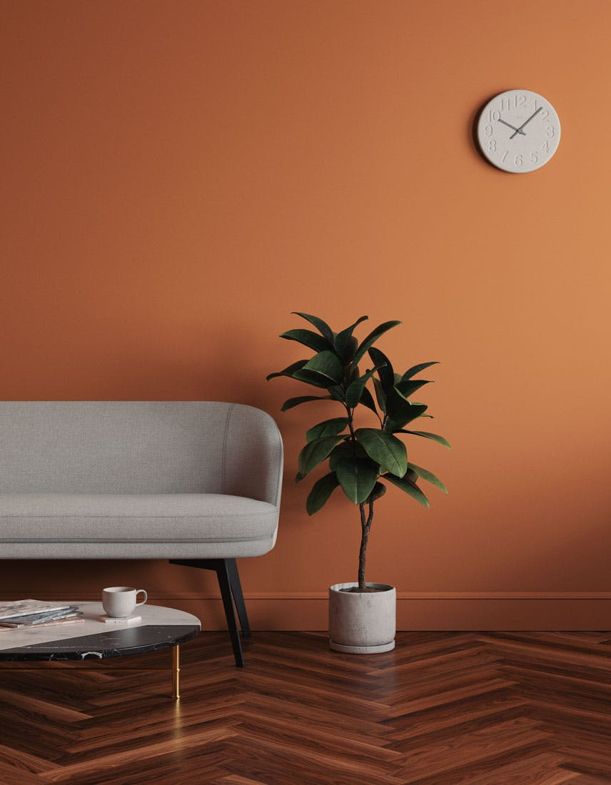 Living room scene decorated with Lick Orange 02 paint