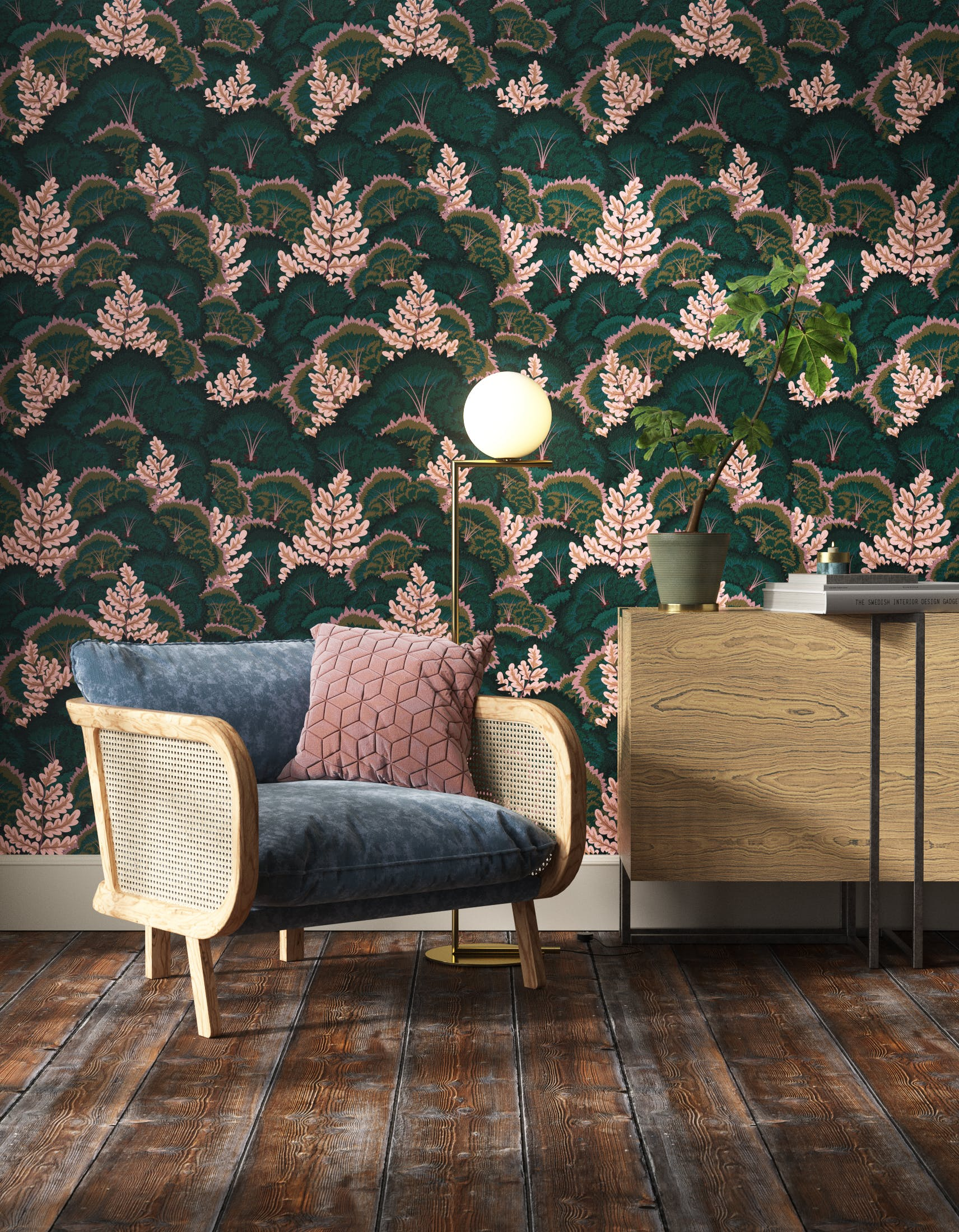 Living room decorated with Lick Electric Poppies 02, a green floral wallpaper