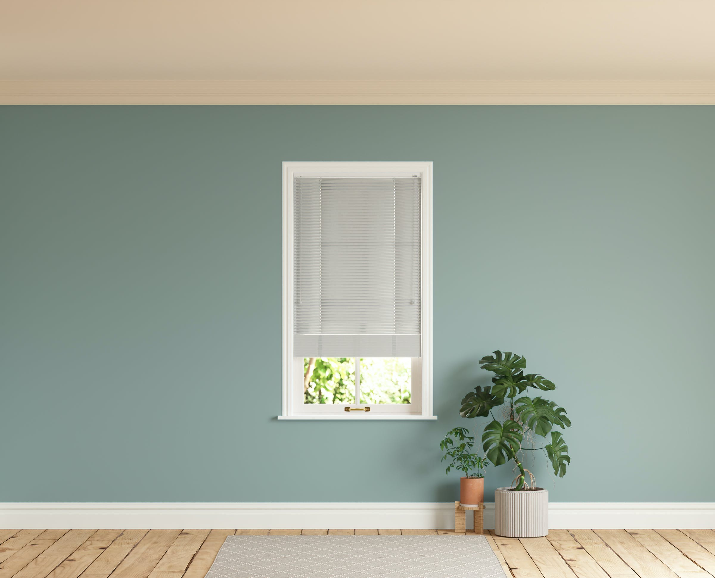 Room with walls painted in Lick Teal 01 and Grey 03 Venetian blinds