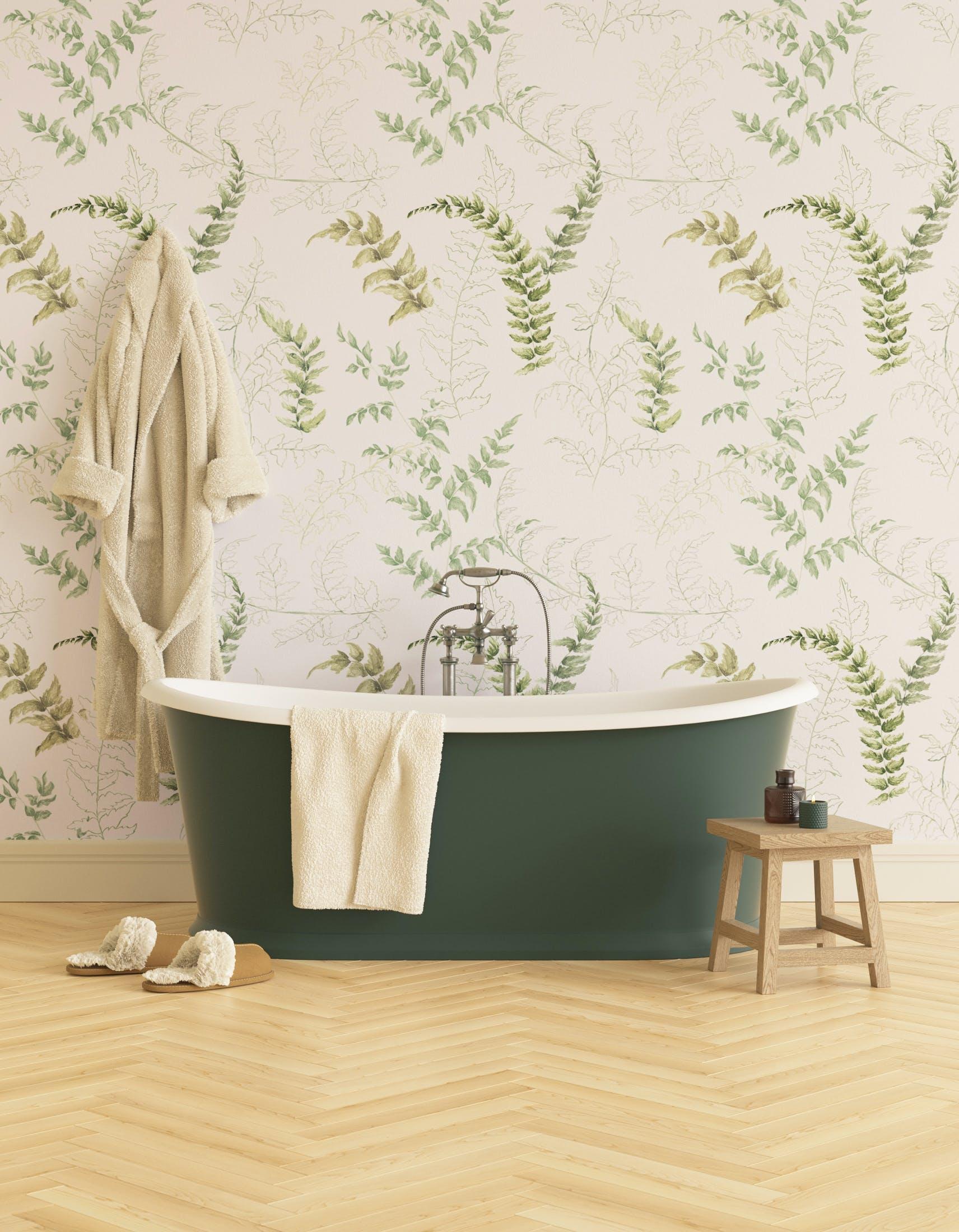 Bathroom decorated with Lick x Jenna Hewitt Fern 01 green botanical wallpaper
