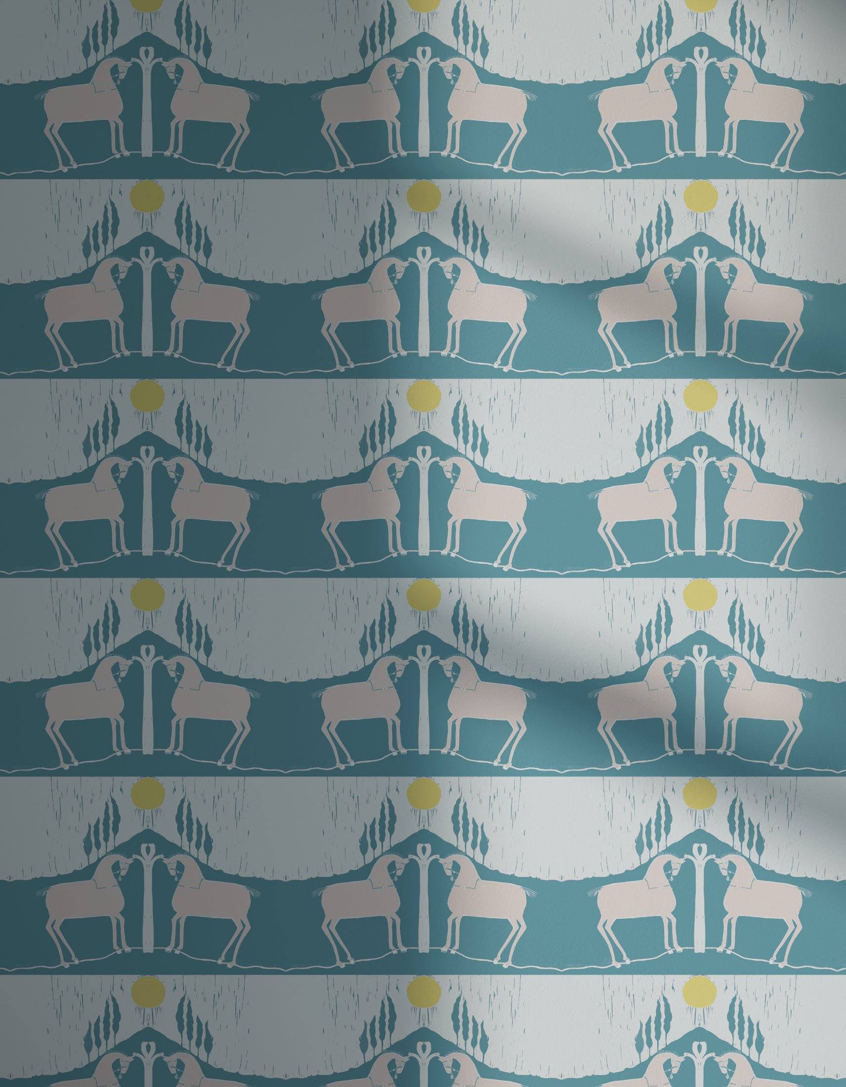 Lick x Annika Reed Western 01 teal and yellow animal wallpaper with shadow