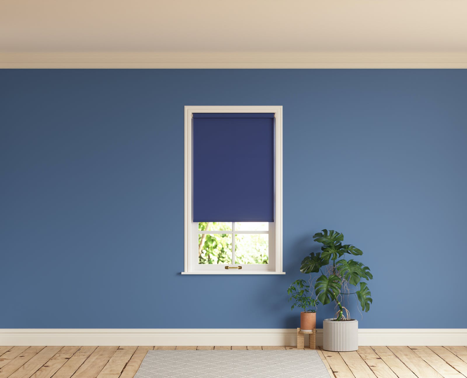 Room with walls painted in Lick Purple 02 and Blue 08 roller blinds
