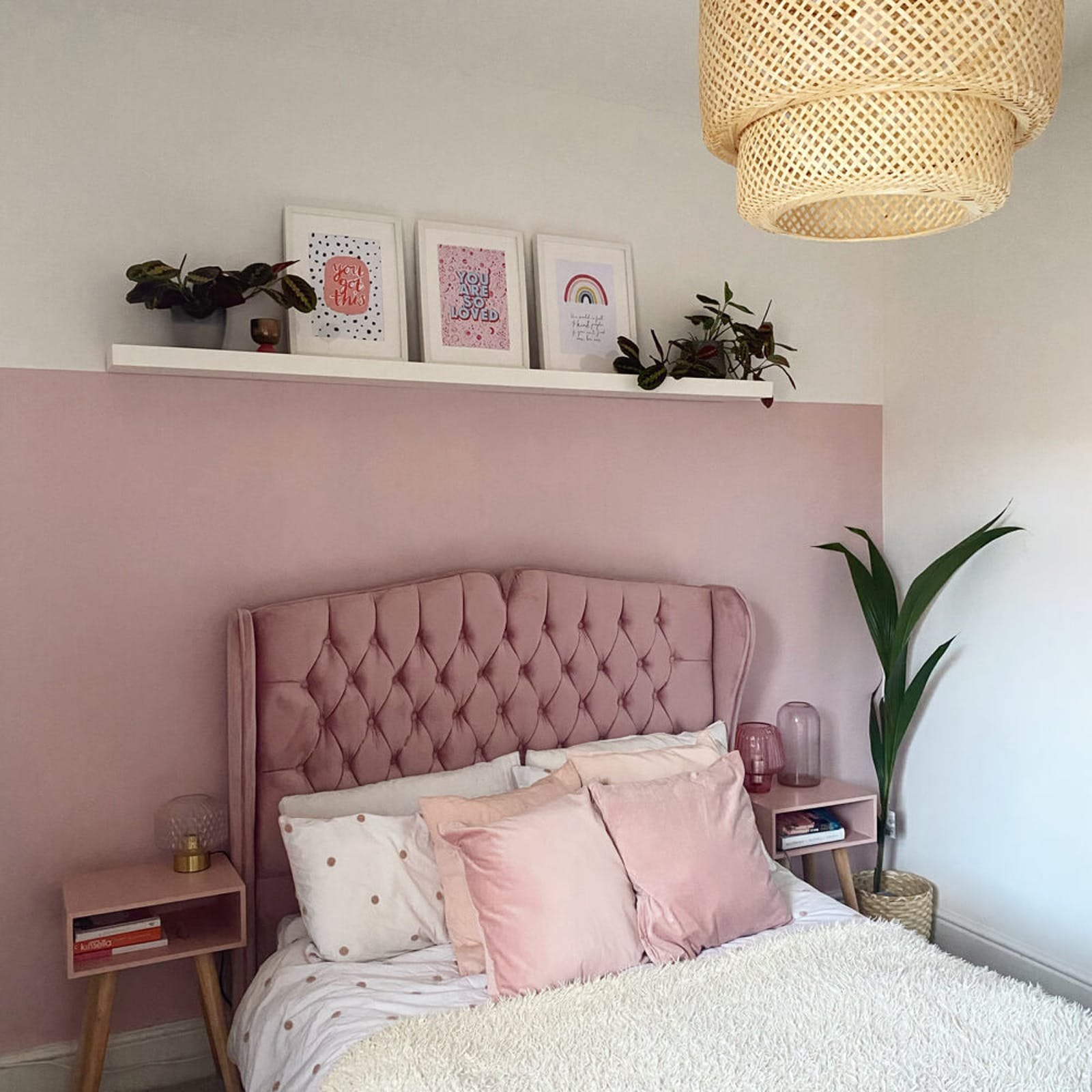 Bedroom painted in Lick Pink 04