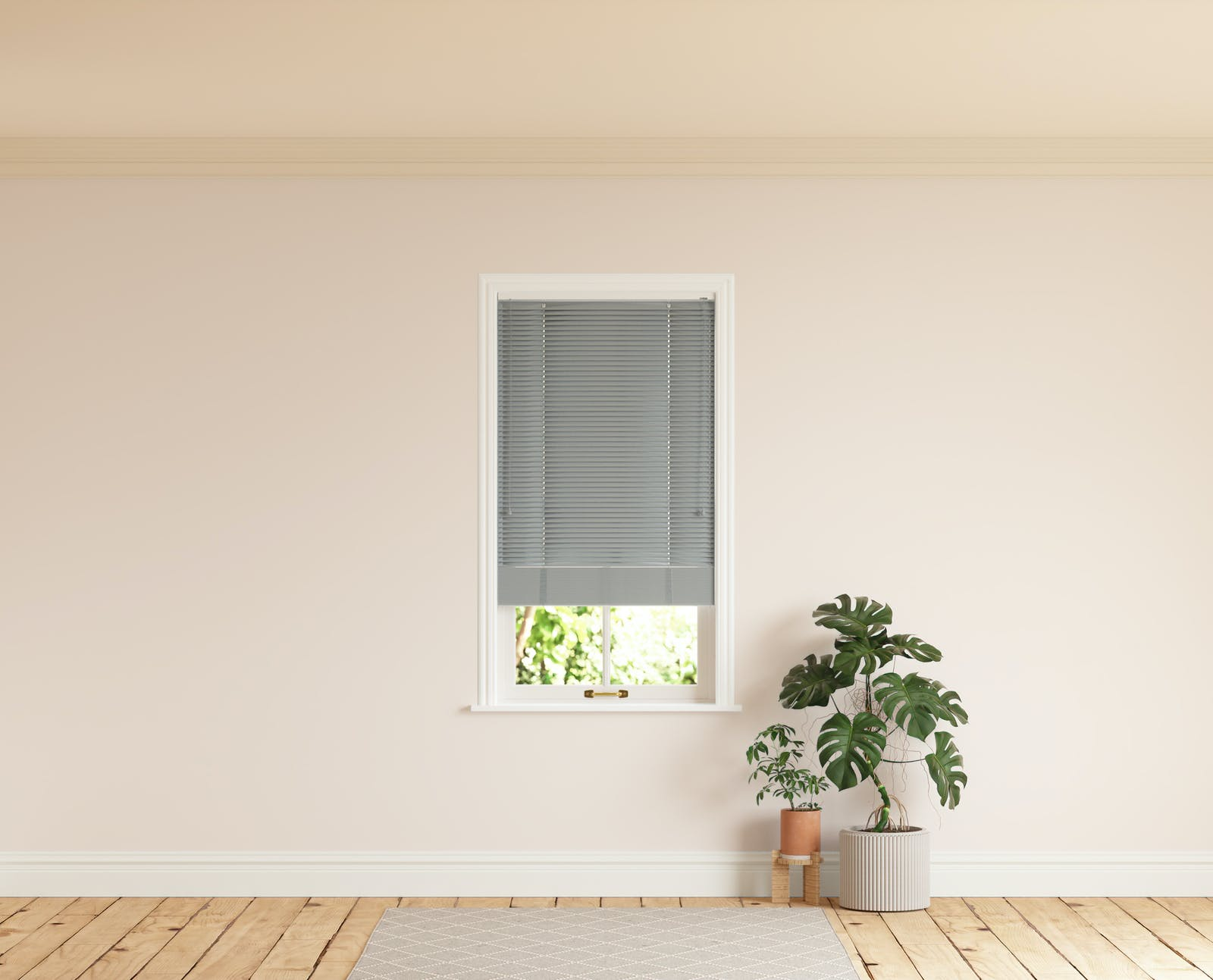 Room with walls painted in Lick Pink 01 and Grey 06 Venetian blinds