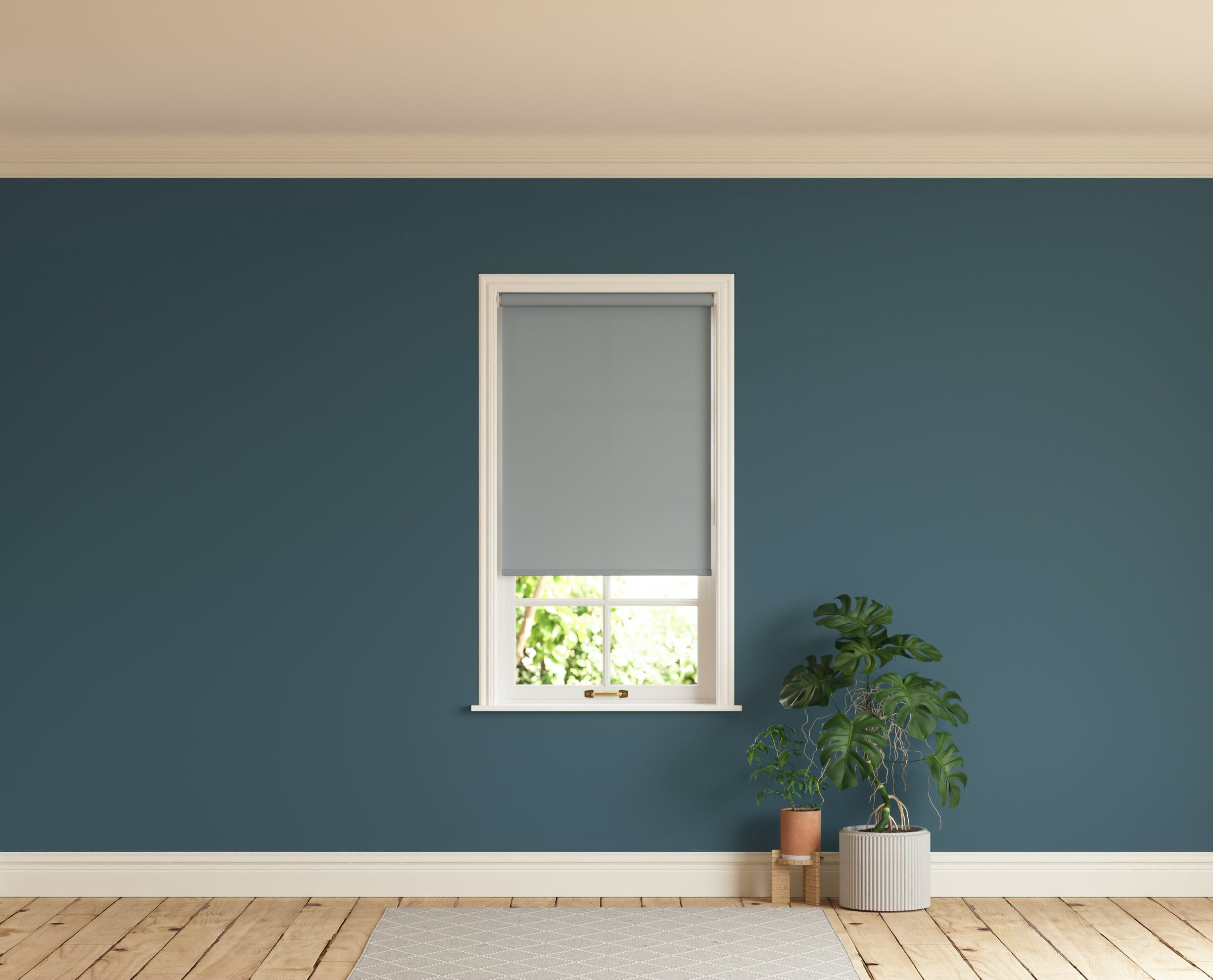 Room with walls painted in Lick Blue 07 and Grey 06 roller blinds