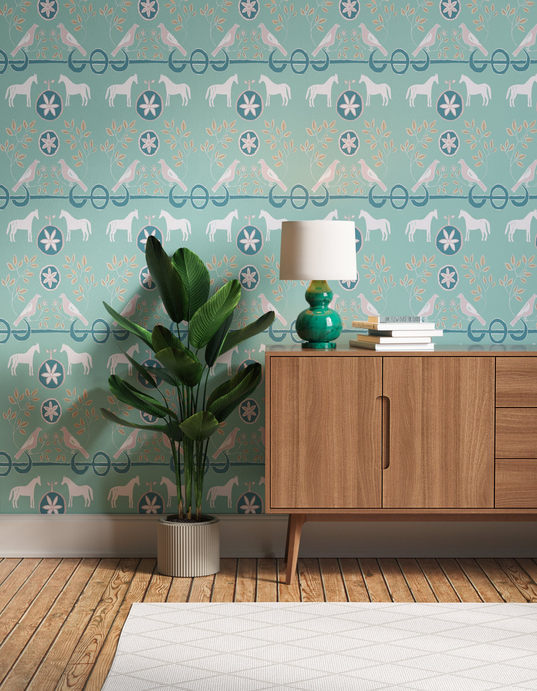 Hallway decorated with Lick x Annika Reed Dove 02 kid's green dove wallpaper