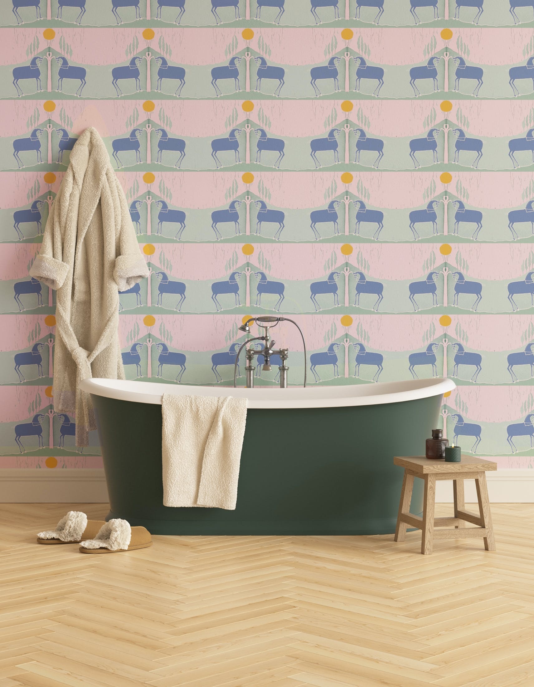 Bathroom decorated with Lick x Annika Reed Western 03 pink and mint green animal wallpaper