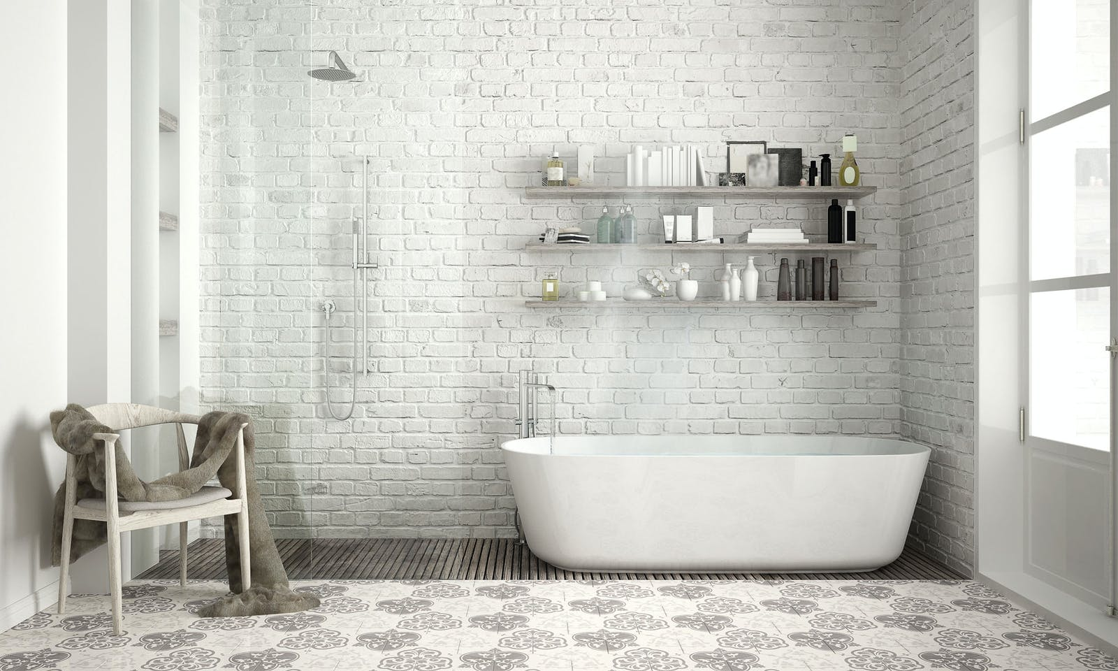 Modern bathroom with a bathtub and white bricks