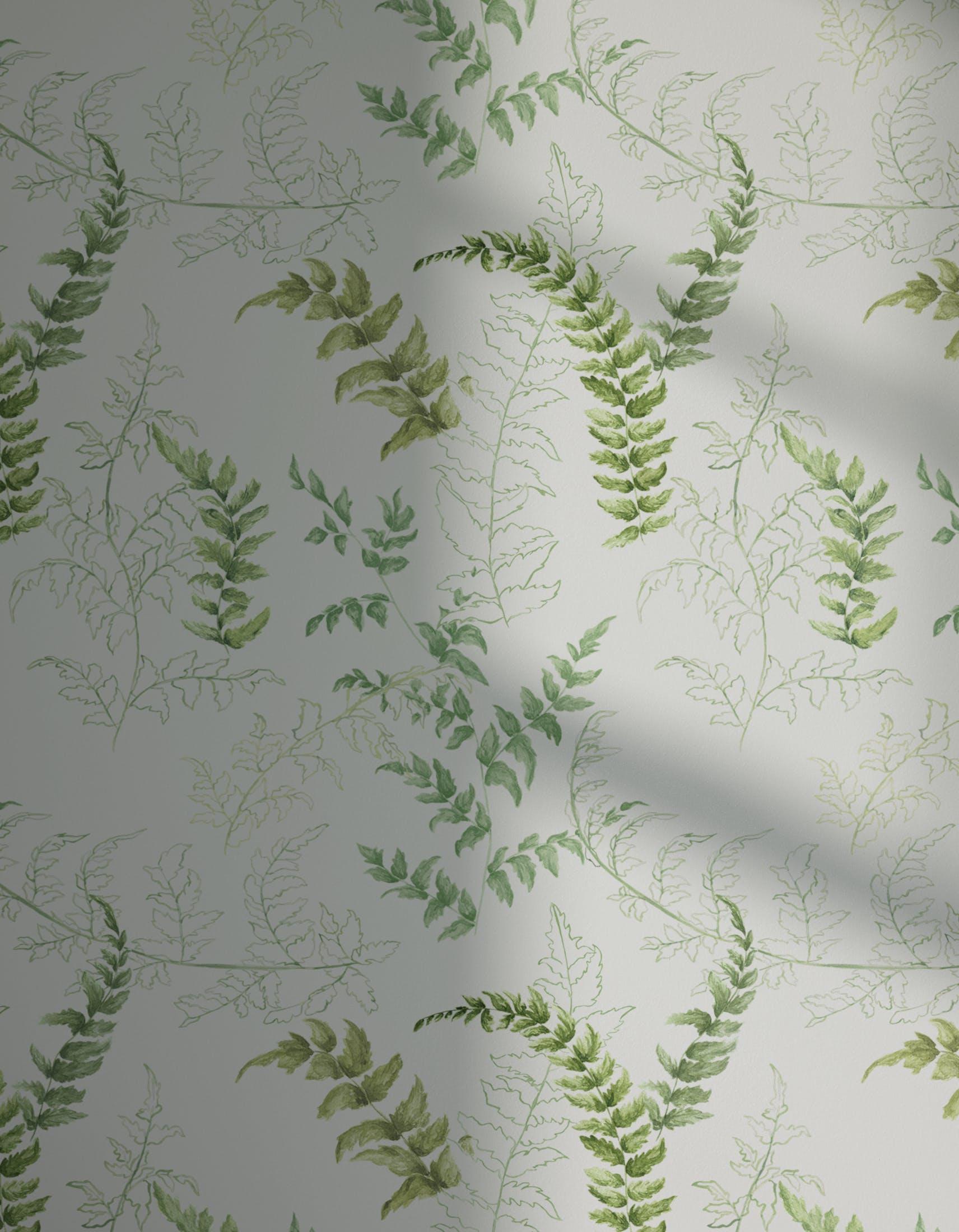 Lick x Jenna Hewitt Fern 01 green botanical wallpaper with shadow