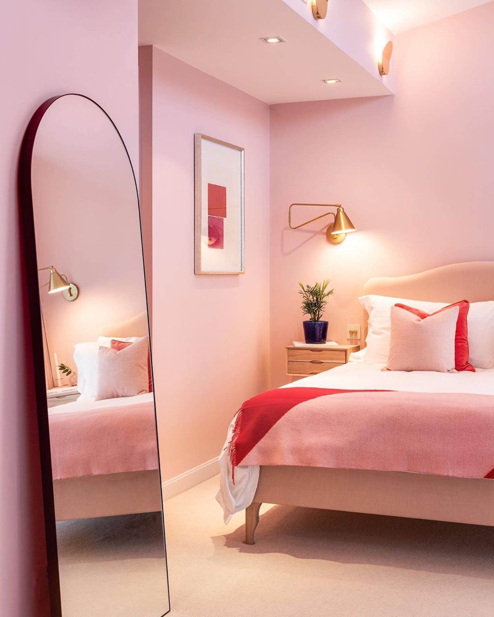 Bubblegum pink bedroom painted in Lick Pink 03