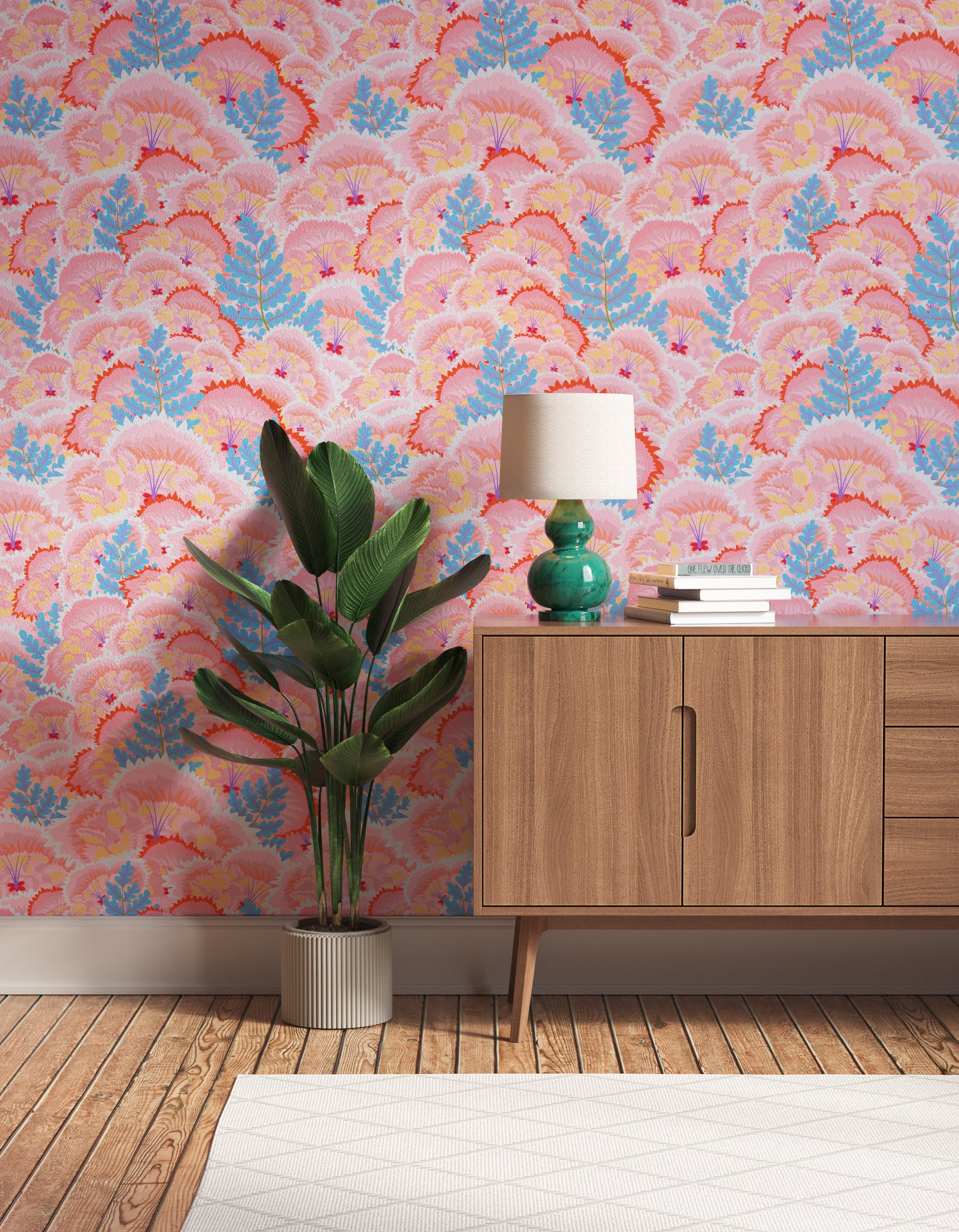 Hallway decorated with Lick Electric Poppies 01, a pink floral wallpaper