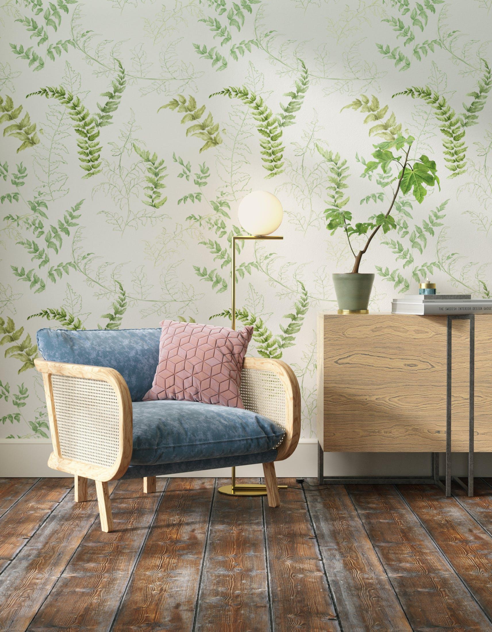 Living room decorated with Lick x Jenna Hewitt Fern 01 green botanical wallpaper