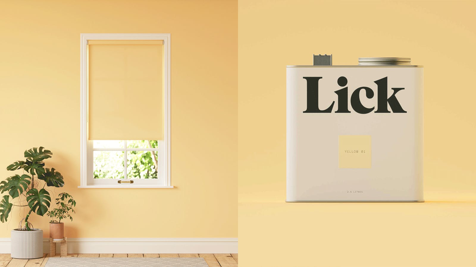 Lick Yellow 01 roller blinds and Lick Yellow 01 tins