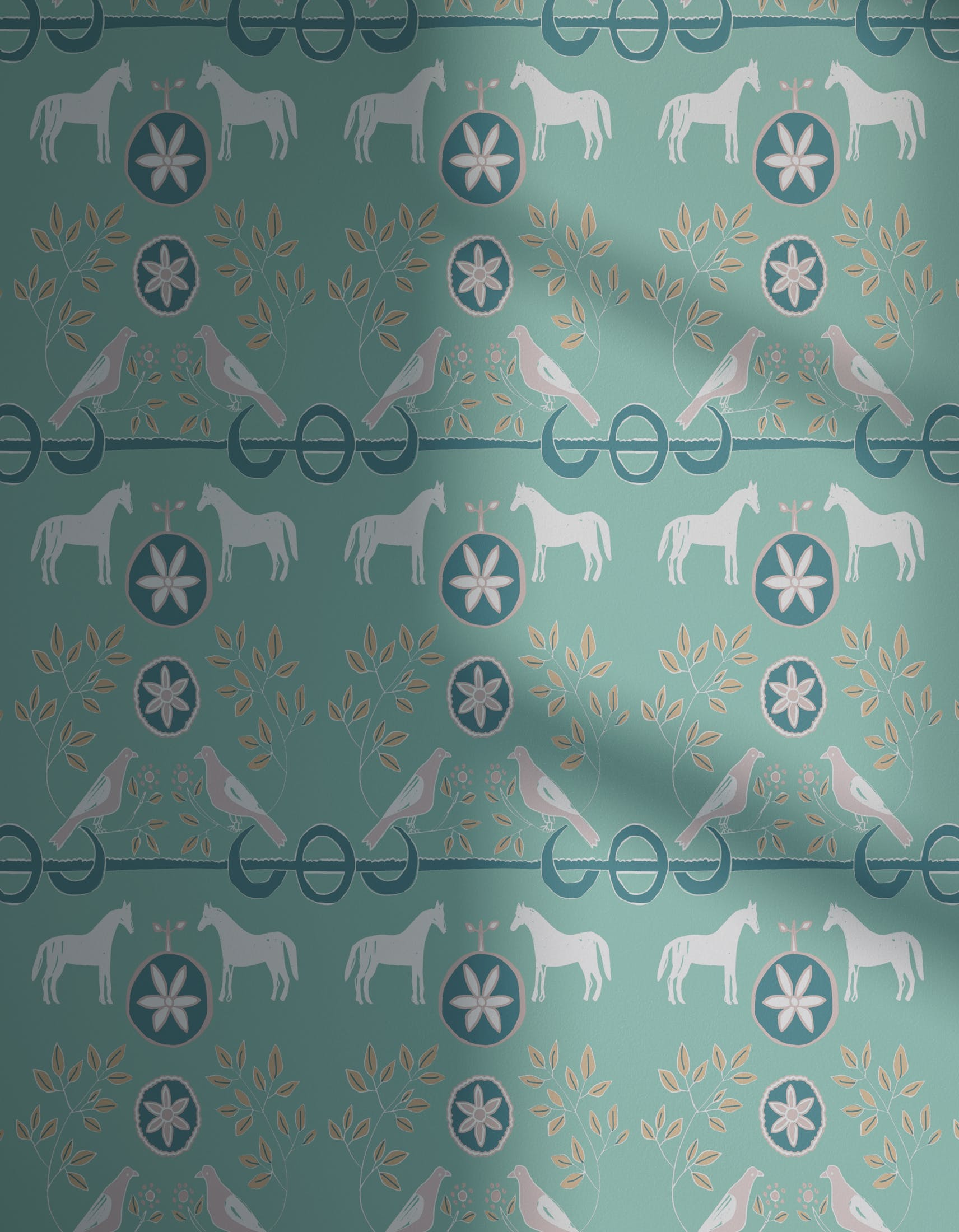 Lick x Annika Reed Dove 02 kid's green dove wallpaper with shadow