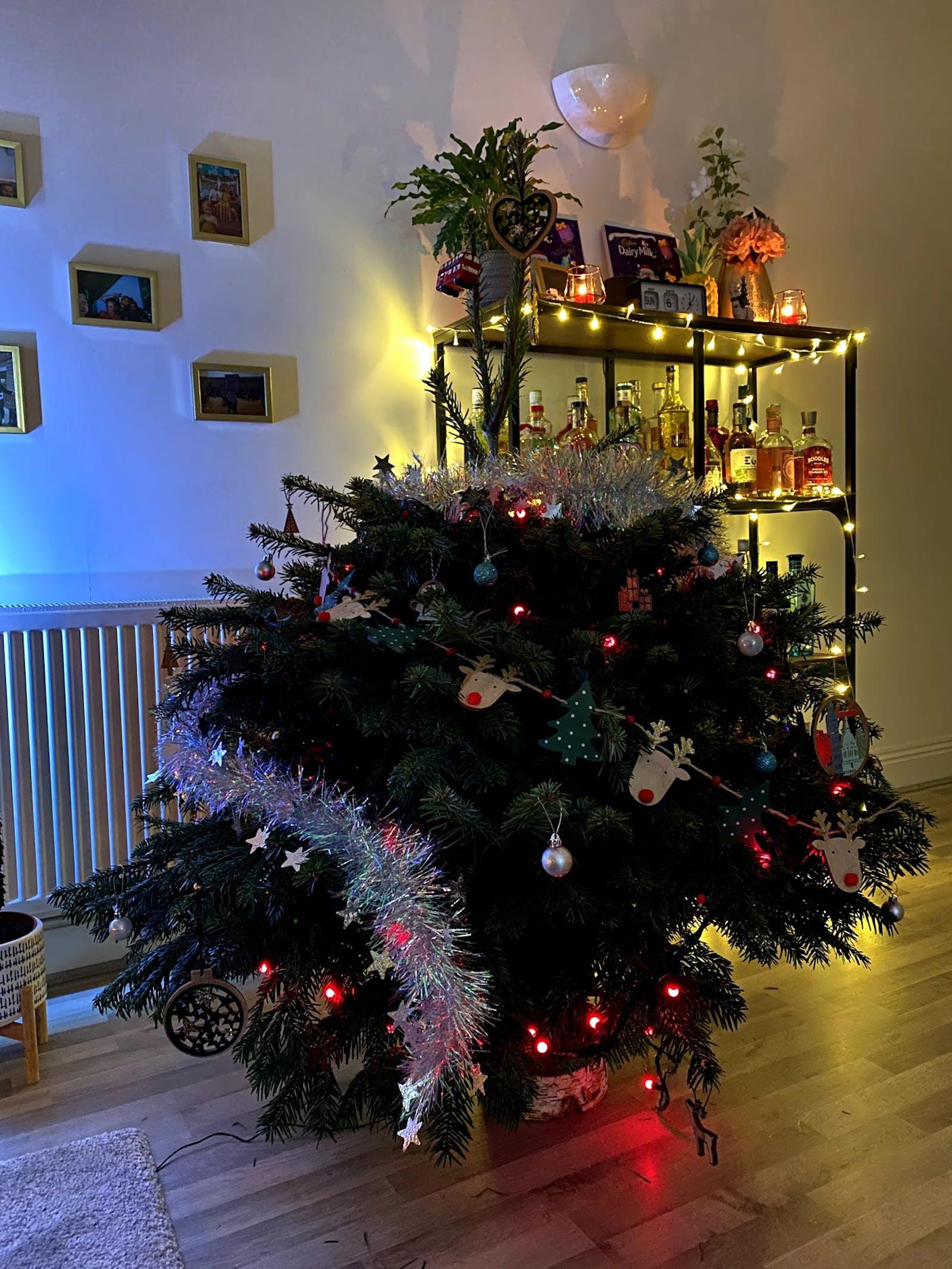 Christmas tree with reindeer garland