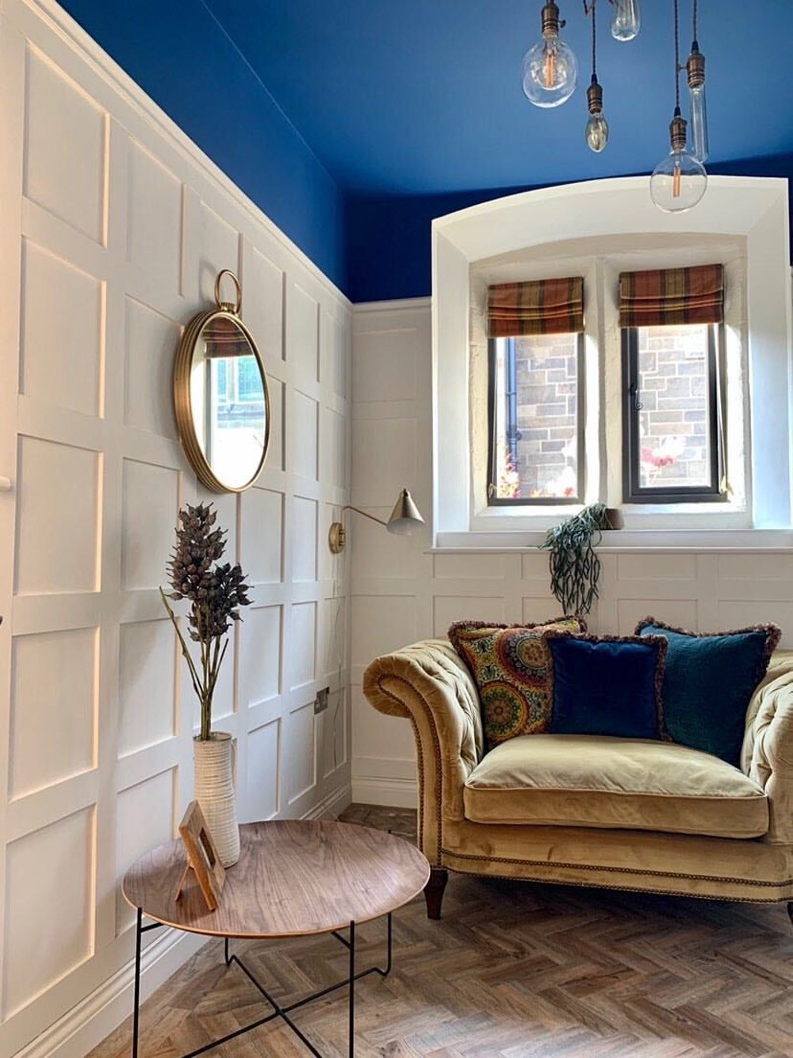 Ceiling painted in Lick Blue 111 - a vibrant, cobalt blue