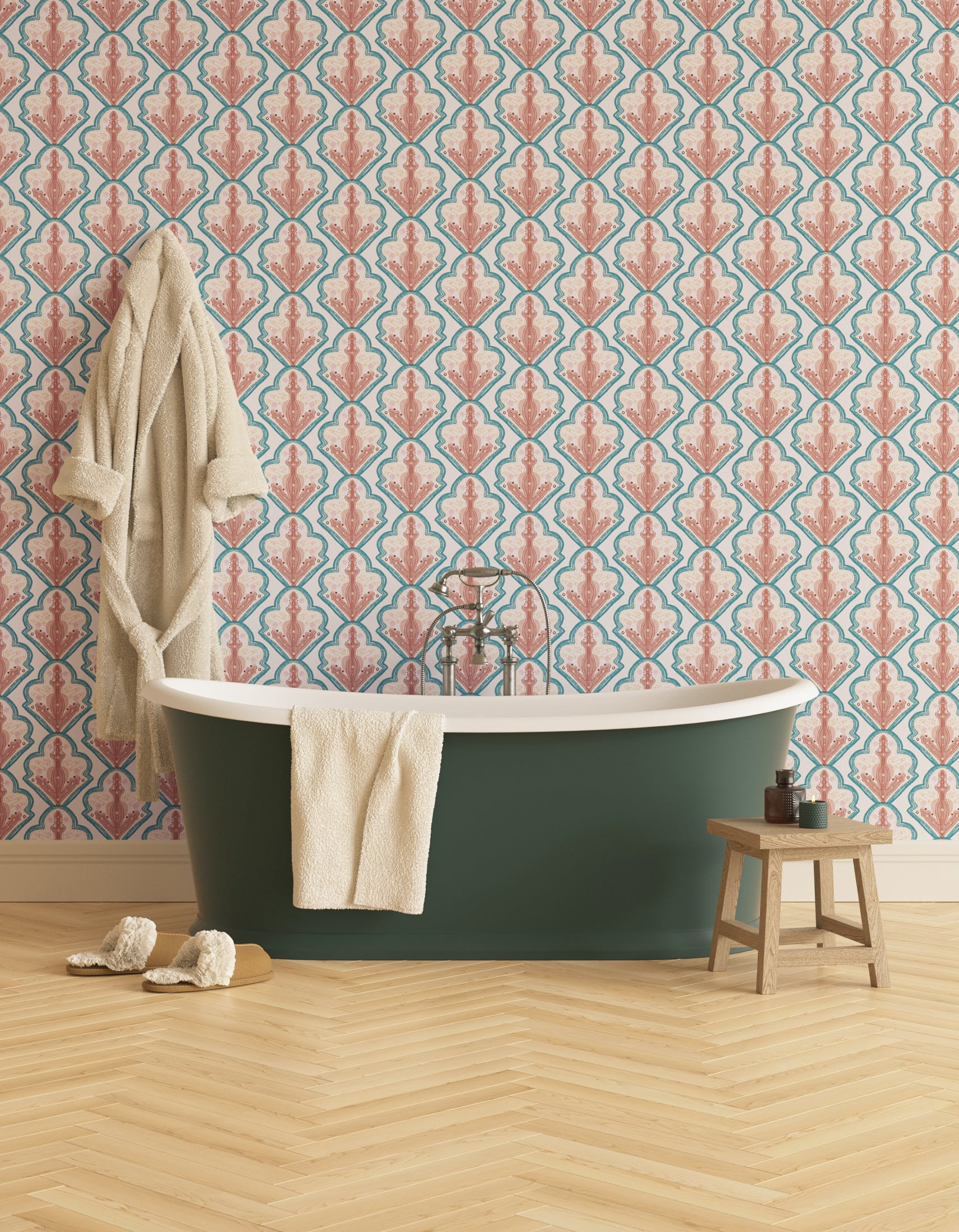 Bathroom decorated with Lick x Lottie McDowell Travelling Tiles 01 mosaic wallpaper