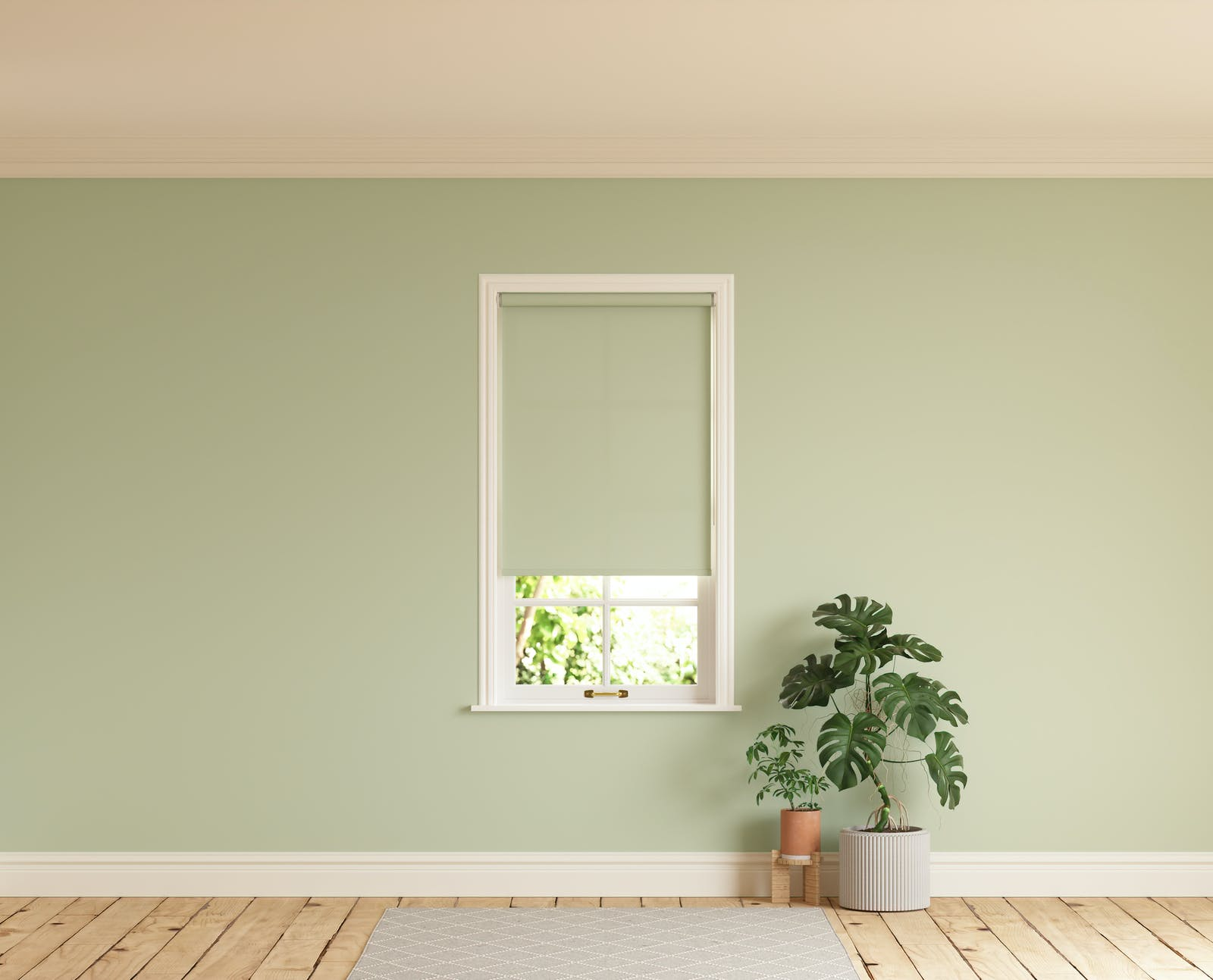 Room with walls painted in Lick Green 01 and Green 01 roller blinds