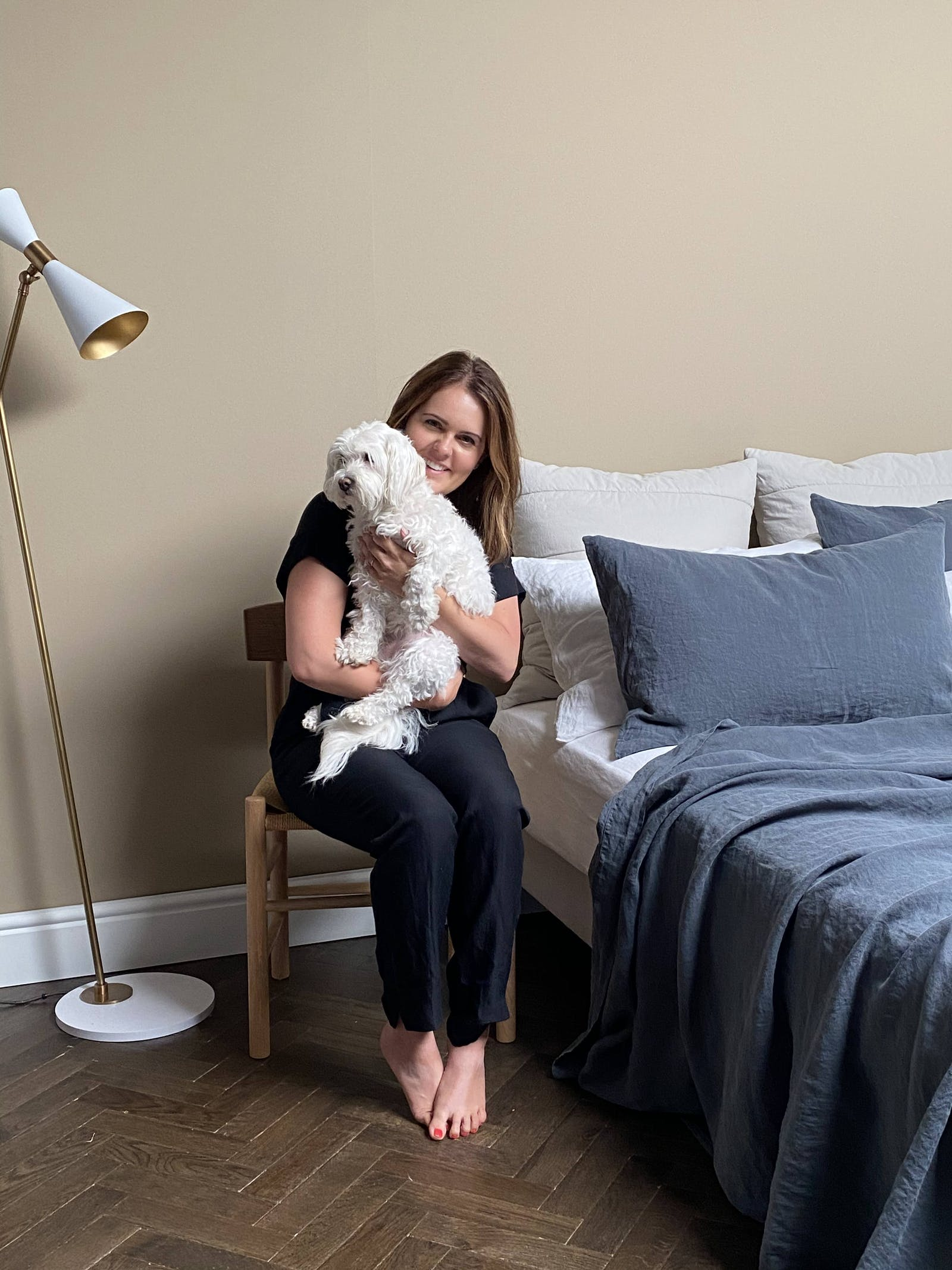 Bedfolk founder Jo James with her dog Juju