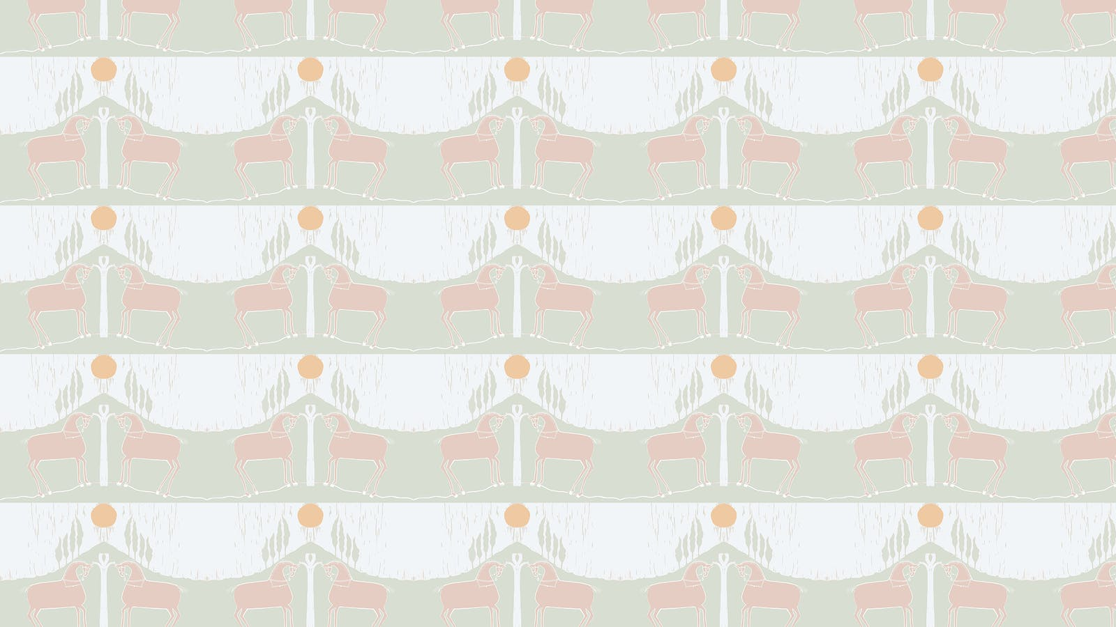 Lick x Annika Reed Western 02 white and mint green animal wallpaper