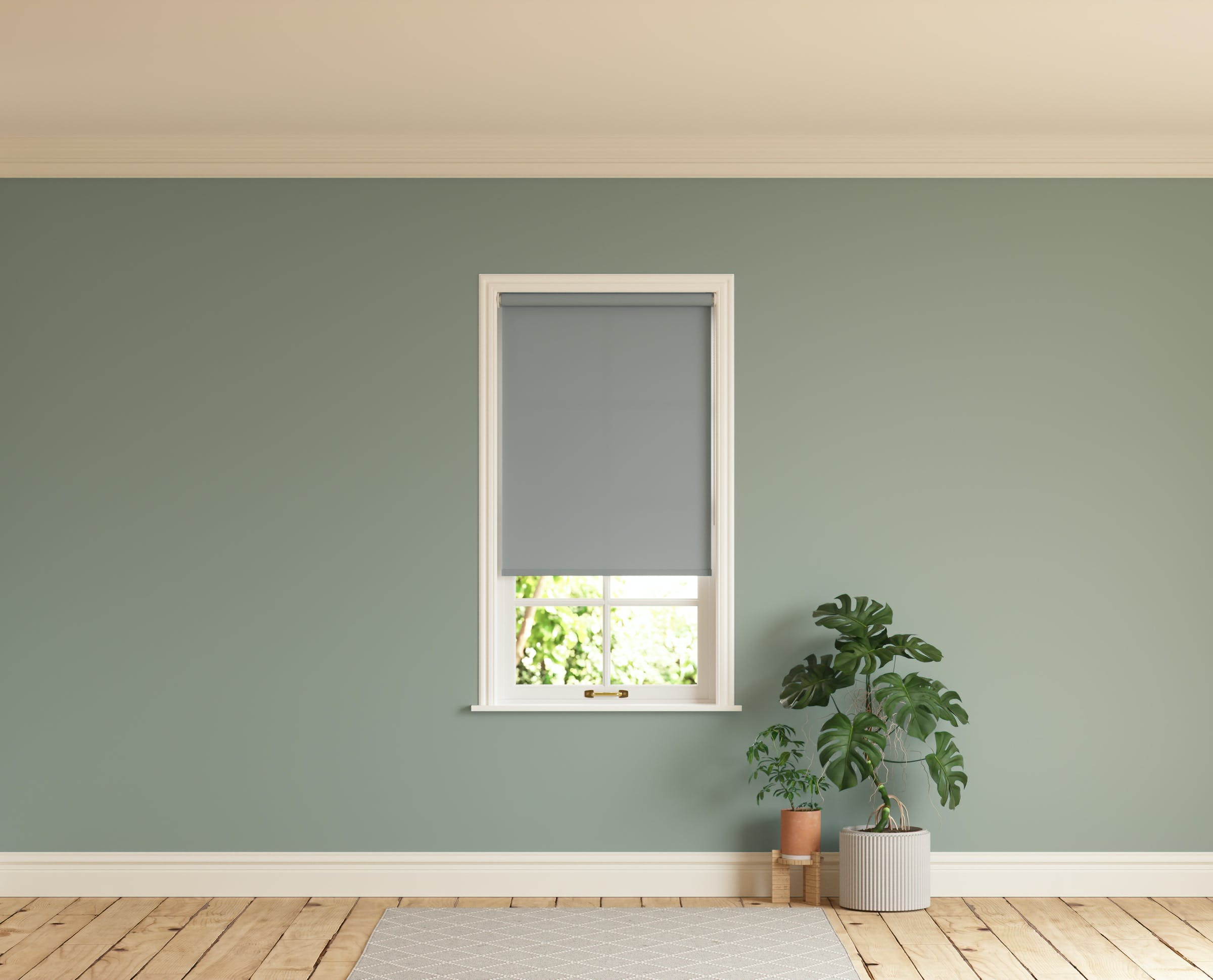 Room with walls painted in Lick Green 02 and Grey 06 roller blinds