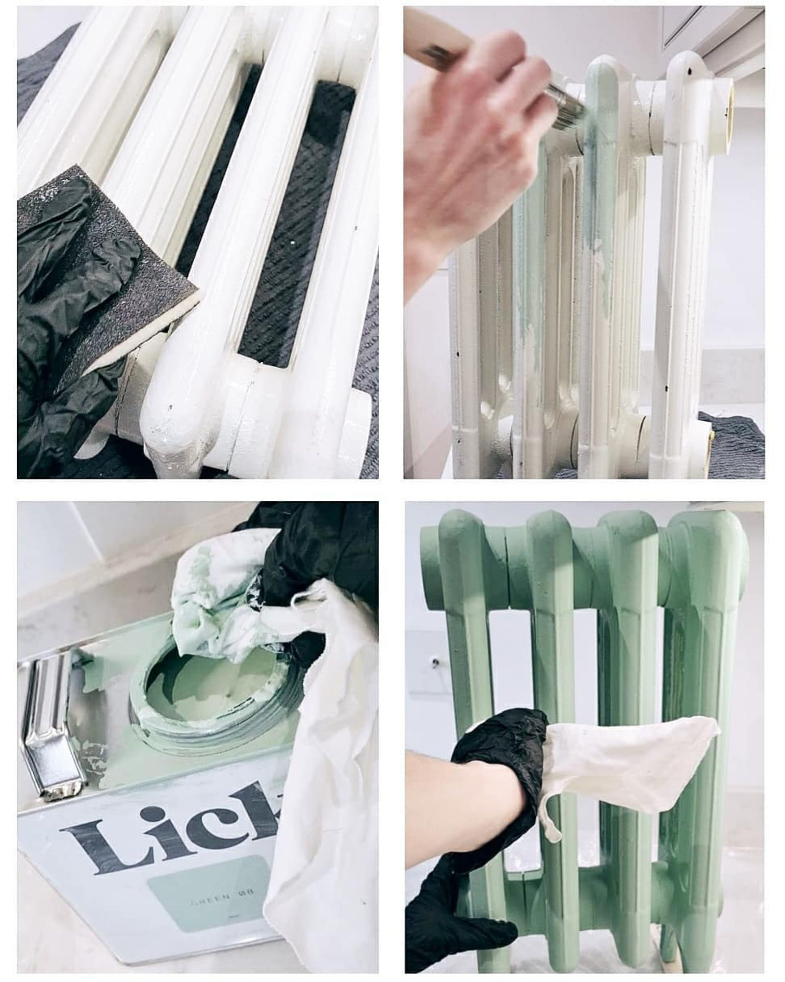 Series of four images that show the process and step by step of painting a radiator in Green 08