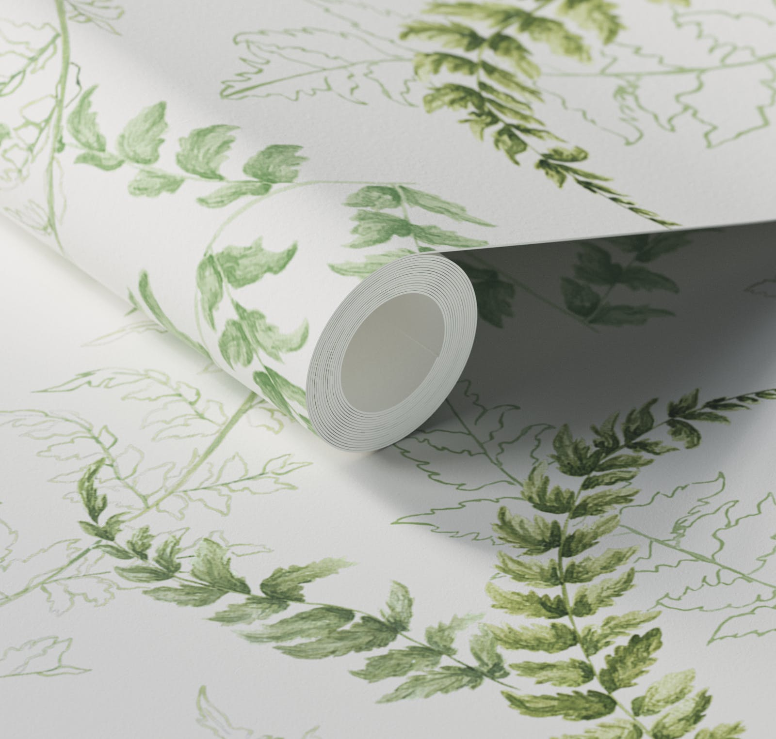Close up of Lick x Jenna Hewitt Fern 01 green botanical wallpaper