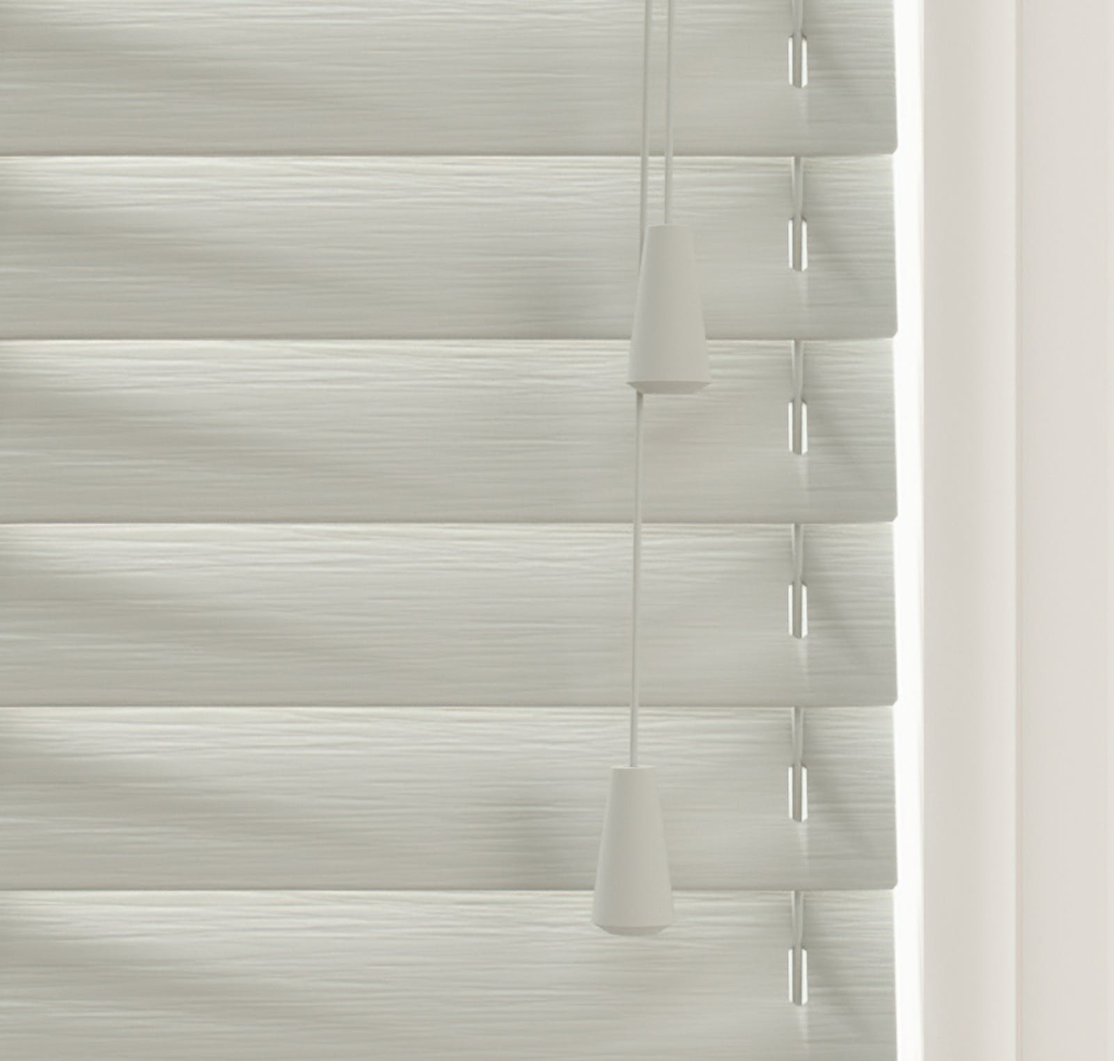 Close up view of Lick Grey 04 Venetian fine grain blinds