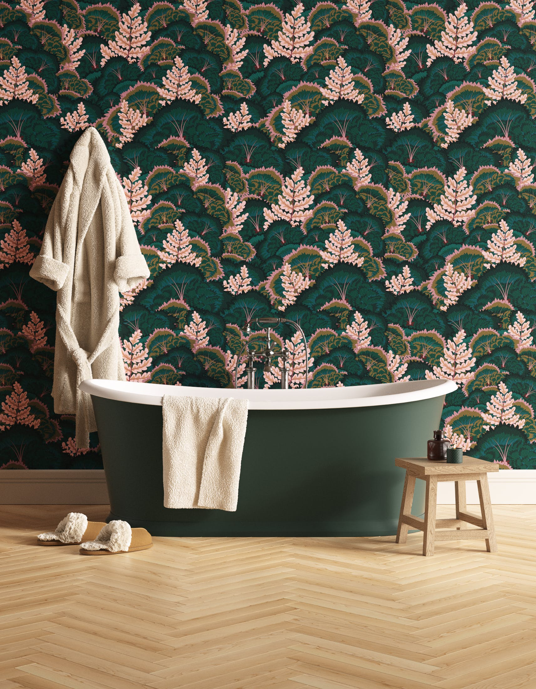 Bathroom decorated with Lick Electric Poppies 02, a dark green floral wallpaper
