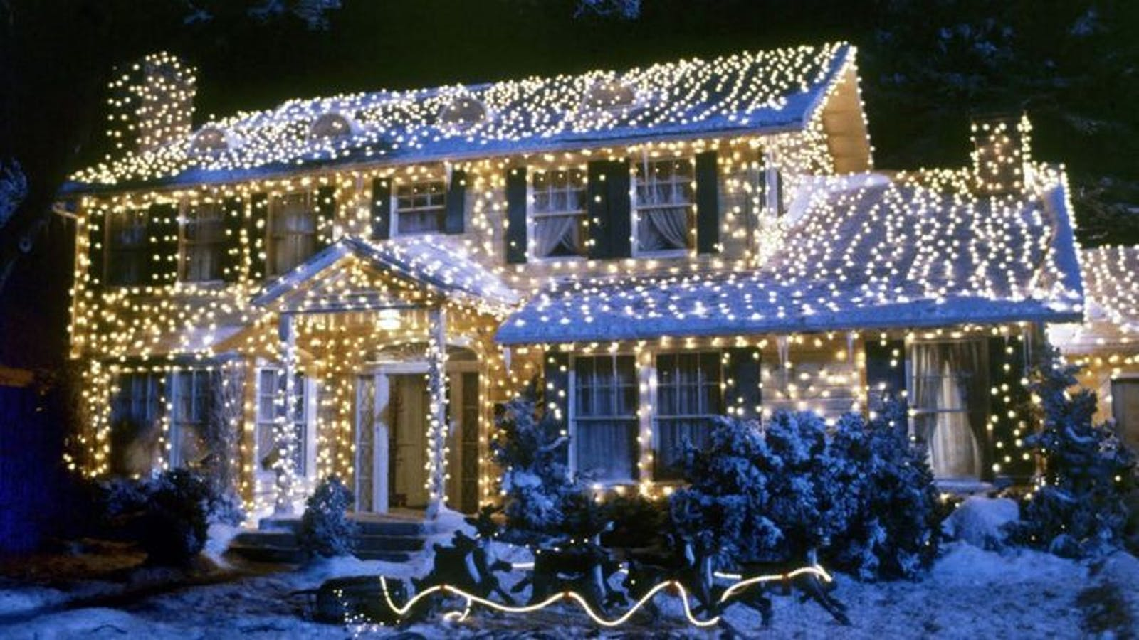 House from National Lampoon's Vacation movie, decked in fairy lights