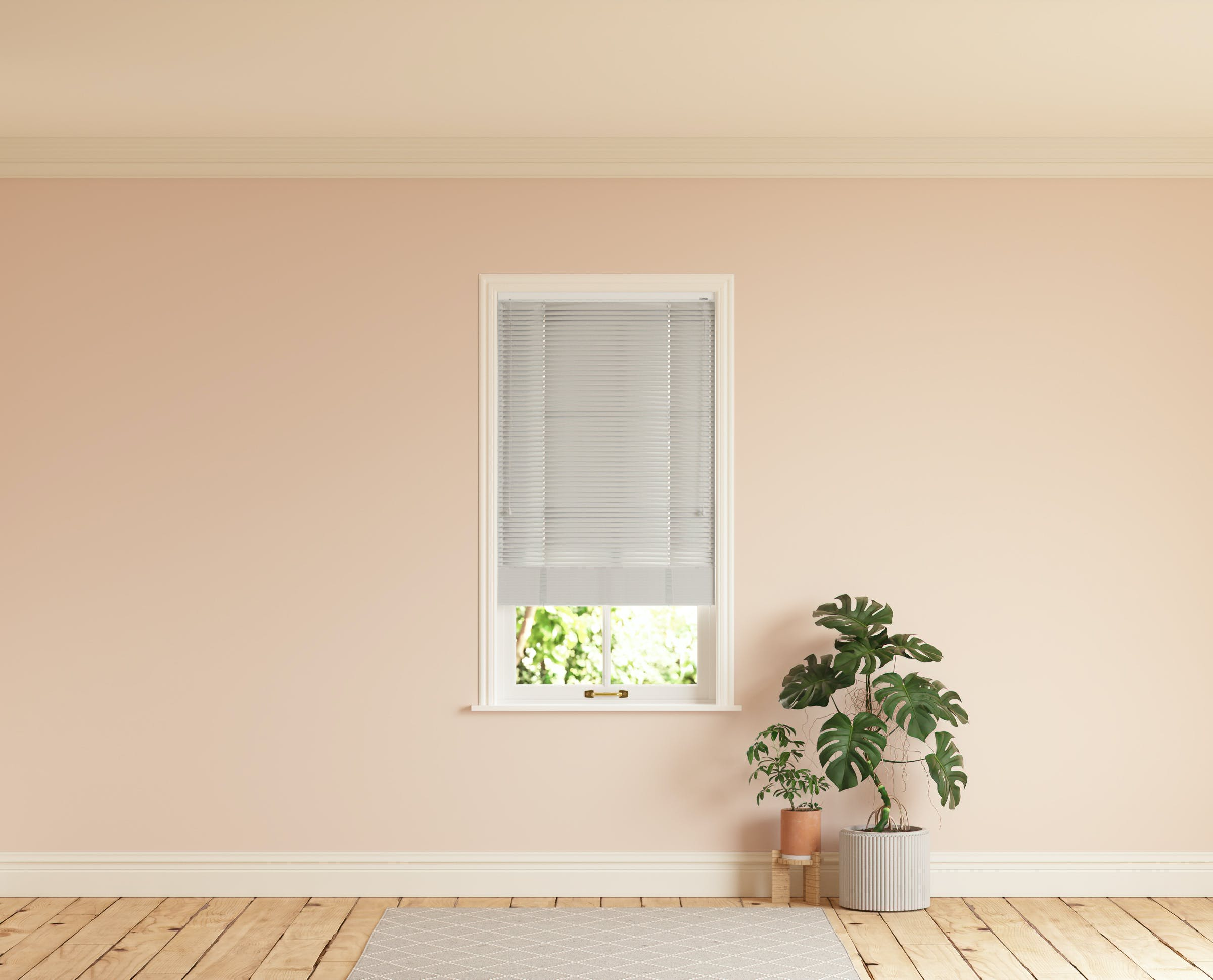 Room with walls painted in Lick Pink 02 and Grey 03 Venetian fine grain blinds