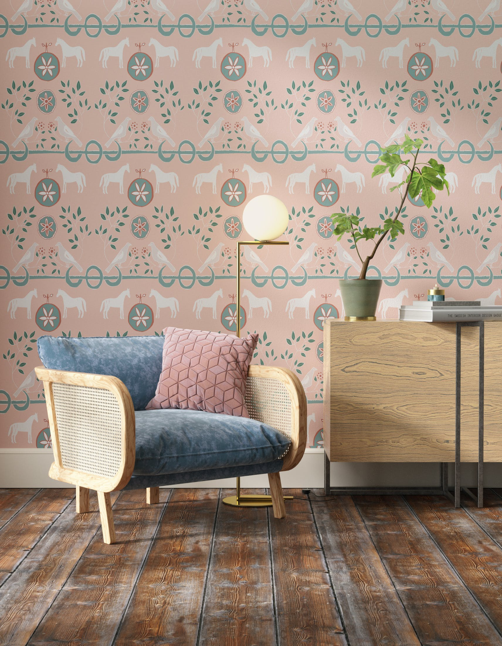 Living room decorated with Lick x Annika Reed Dove 01 kid's pink dove wallpaper