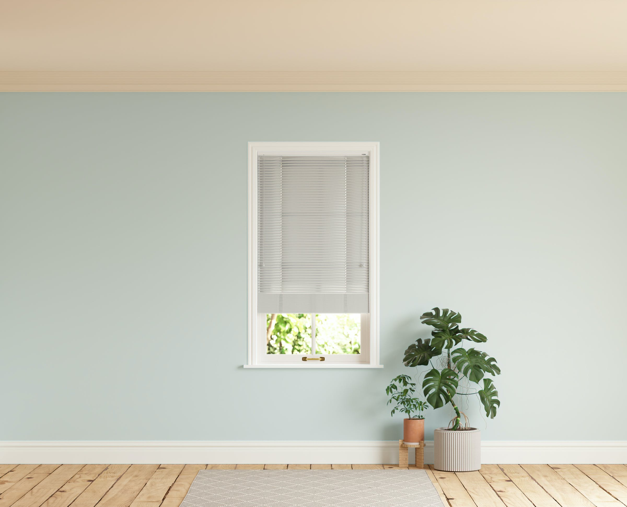 Room with walls painted in Lick Blue 01 and Grey 03 Venetian fine grain blinds