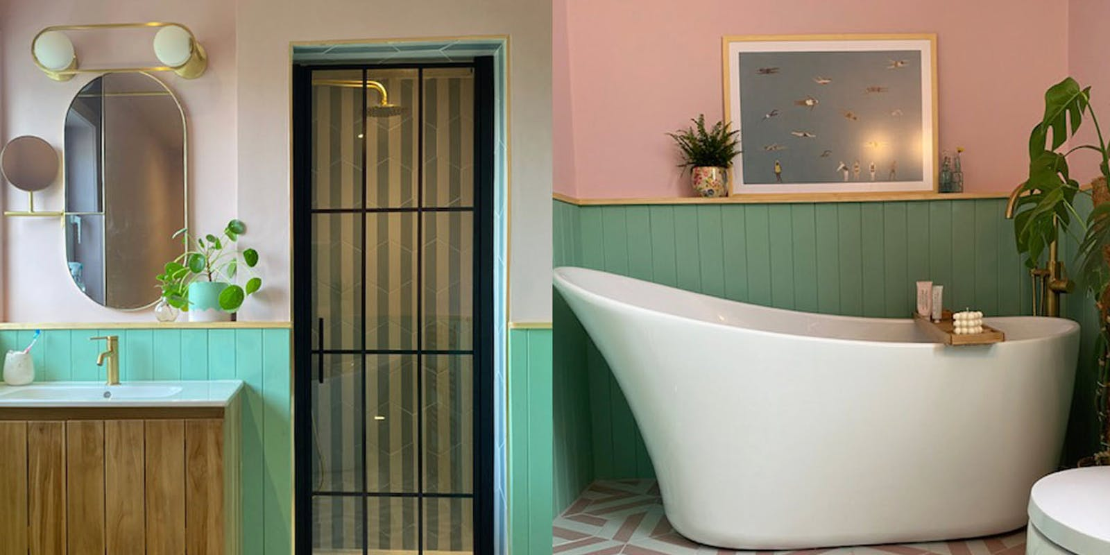 Bathroom with shower and bath tub painted in Lick Pink 03 and Green 08