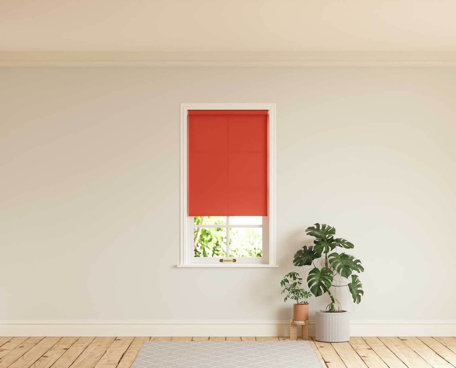 Room with walls painted in Lick White 04 and Red 02 roller blinds