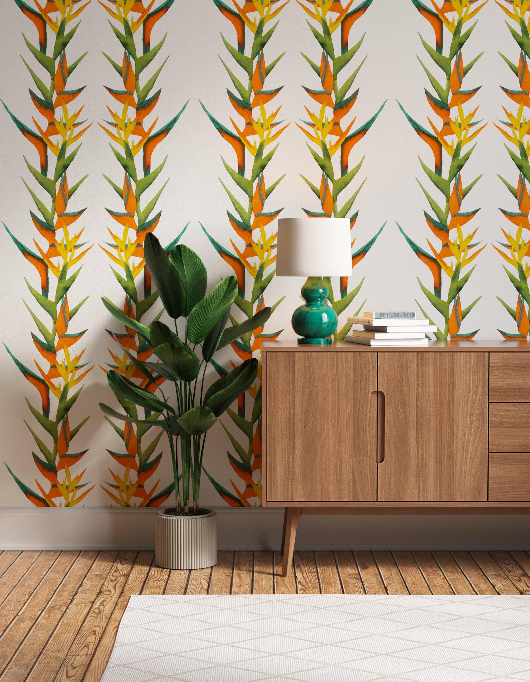 Hallway decorated with Lick x Belinda Bayley Paradise Vine 01 orange exotic botanical wallpaper