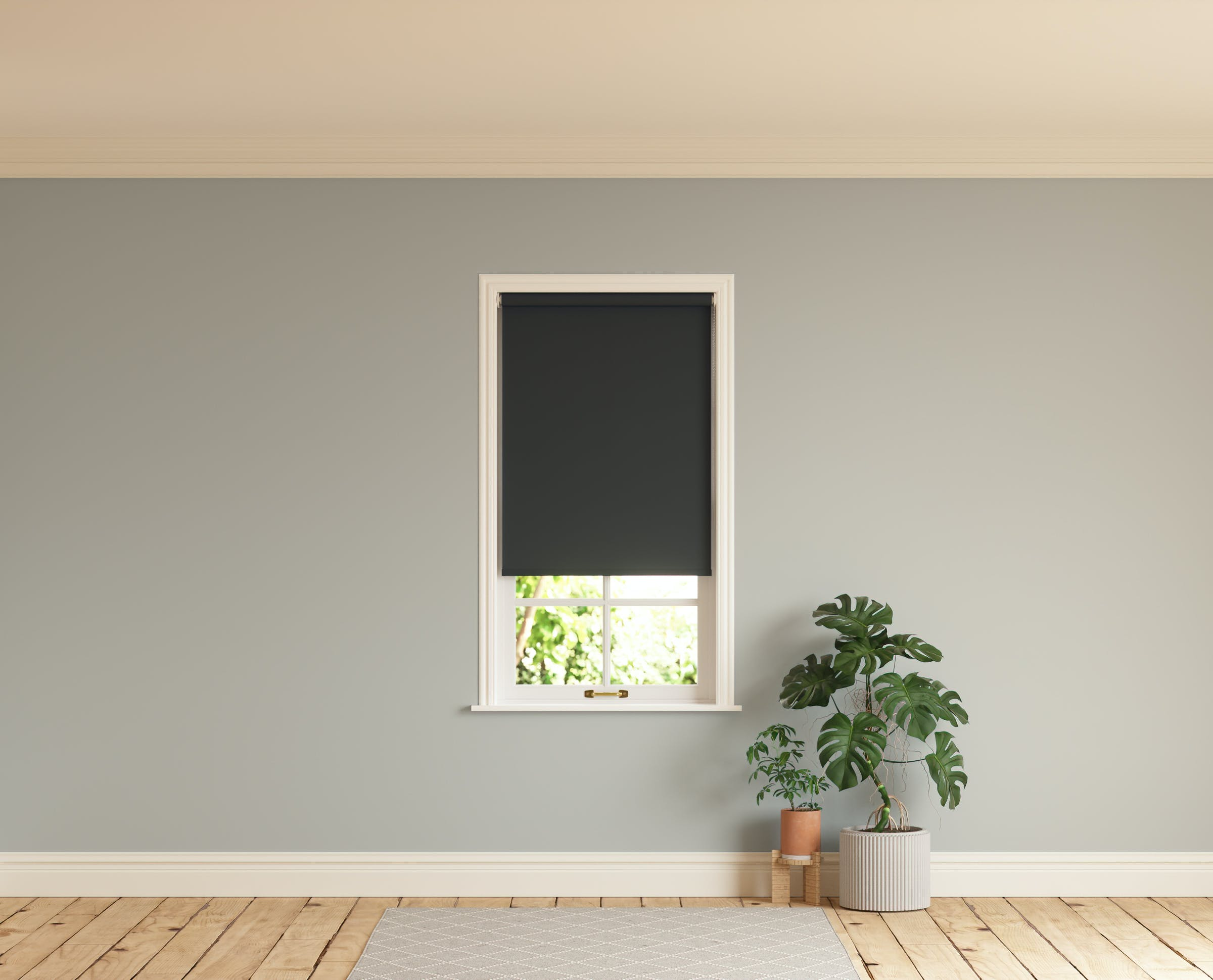 Room with walls painted in Lick Grey 04 and Black 02 roller blinds
