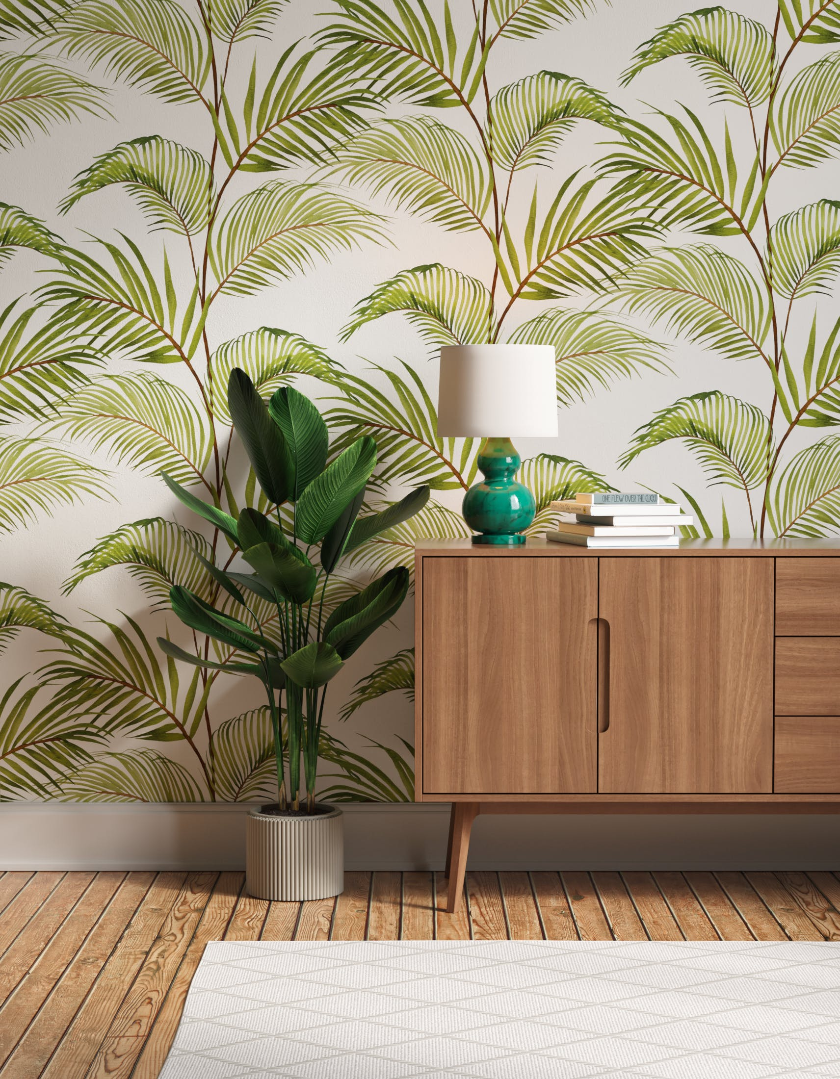 Hallway decorated with Lick x Belinda Bayley Jungle 03 white and green palm leaf wallpaper