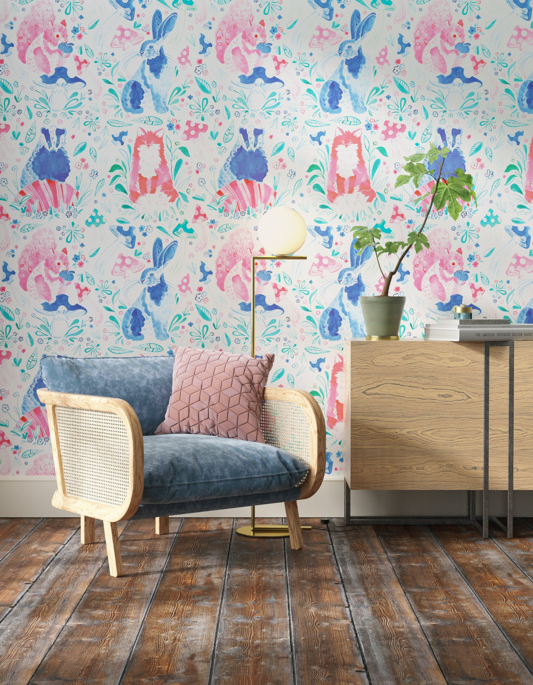Living room decorated with Lick x Franki Barber Enchanted Forest 01 kid's magical rabbit wallpaper