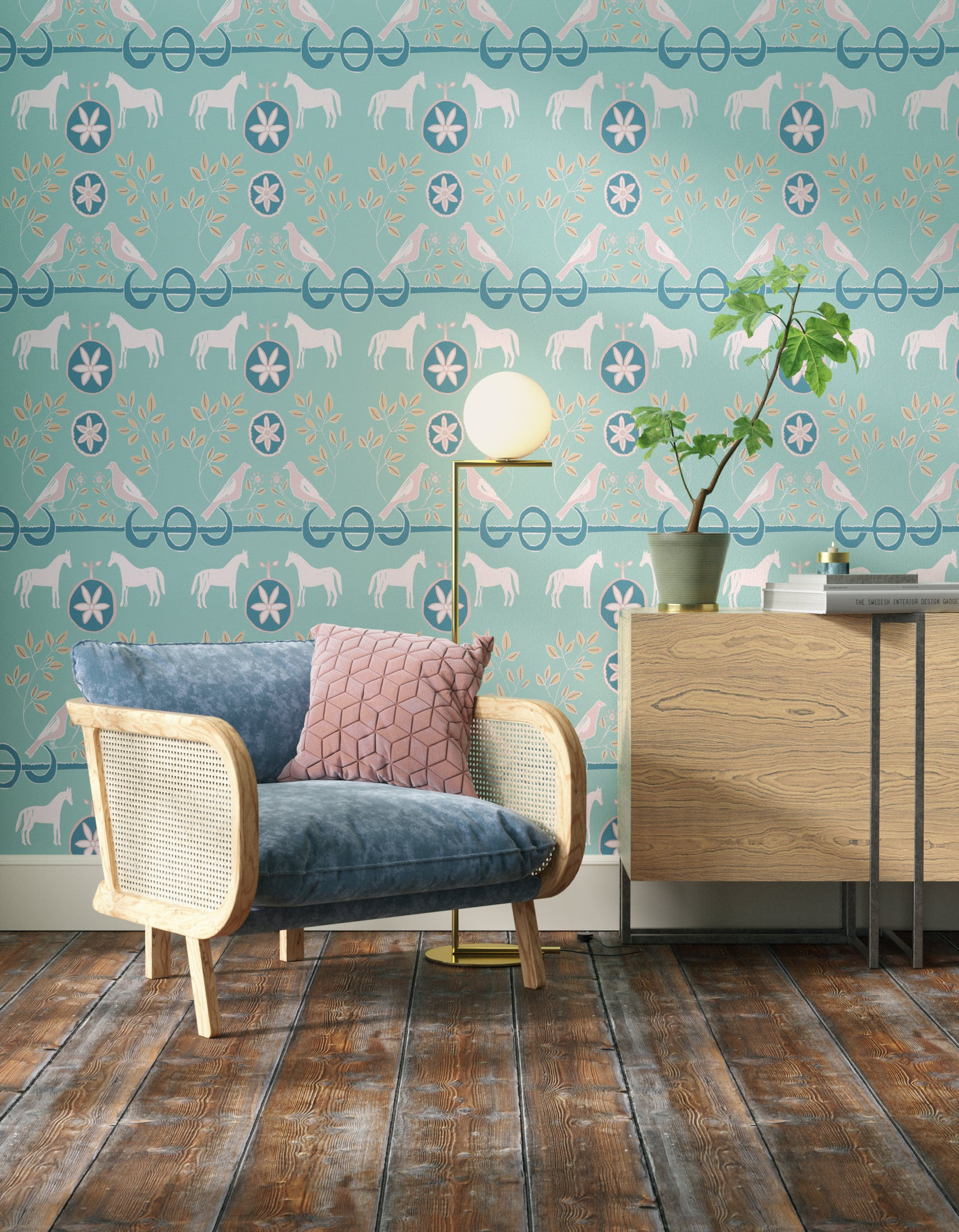 Living room decorated with Lick x Annika Reed Dove 02 kid's green dove wallpaper