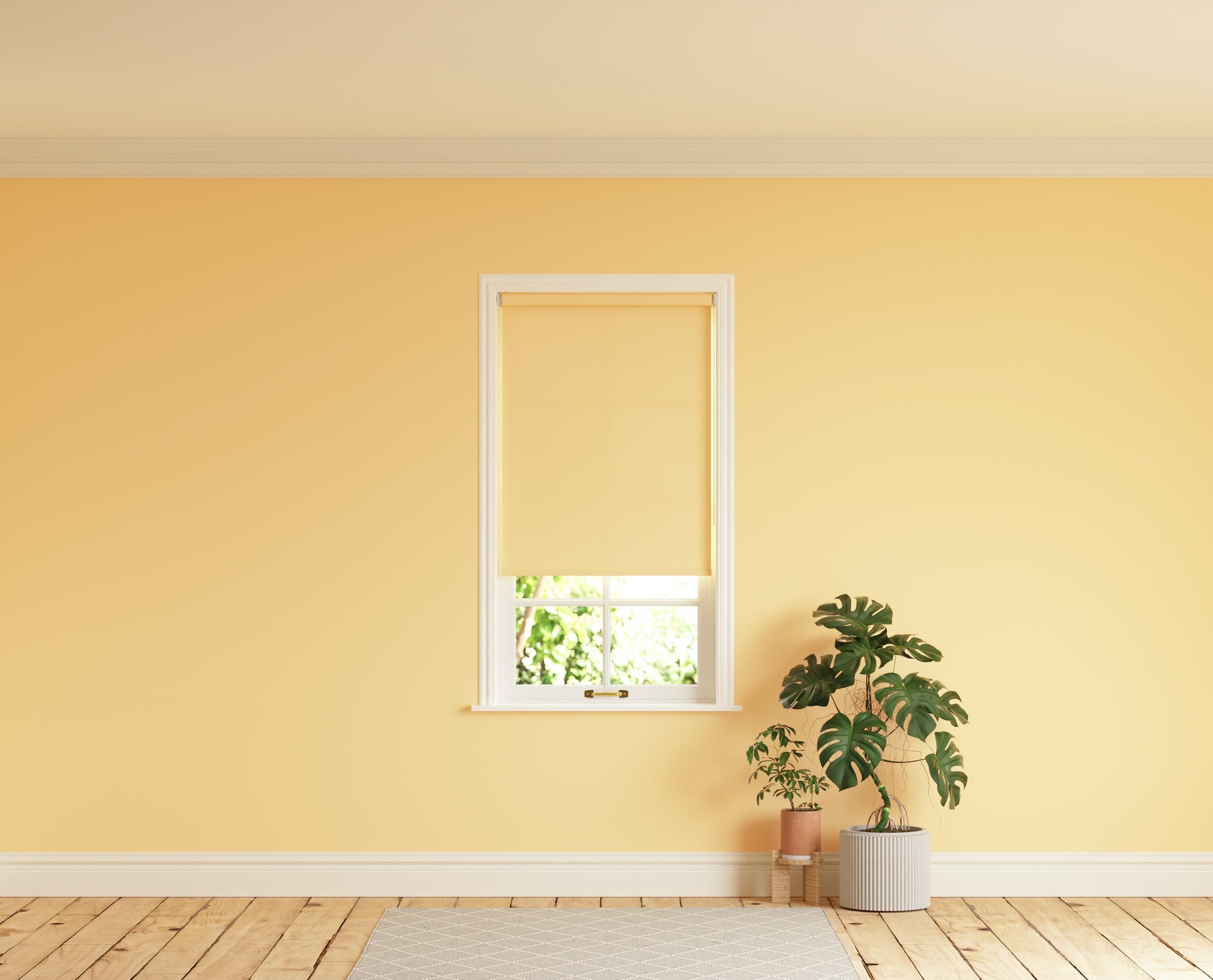 Room with walls painted in Lick Yellow 01 and Yellow 01 roller blinds