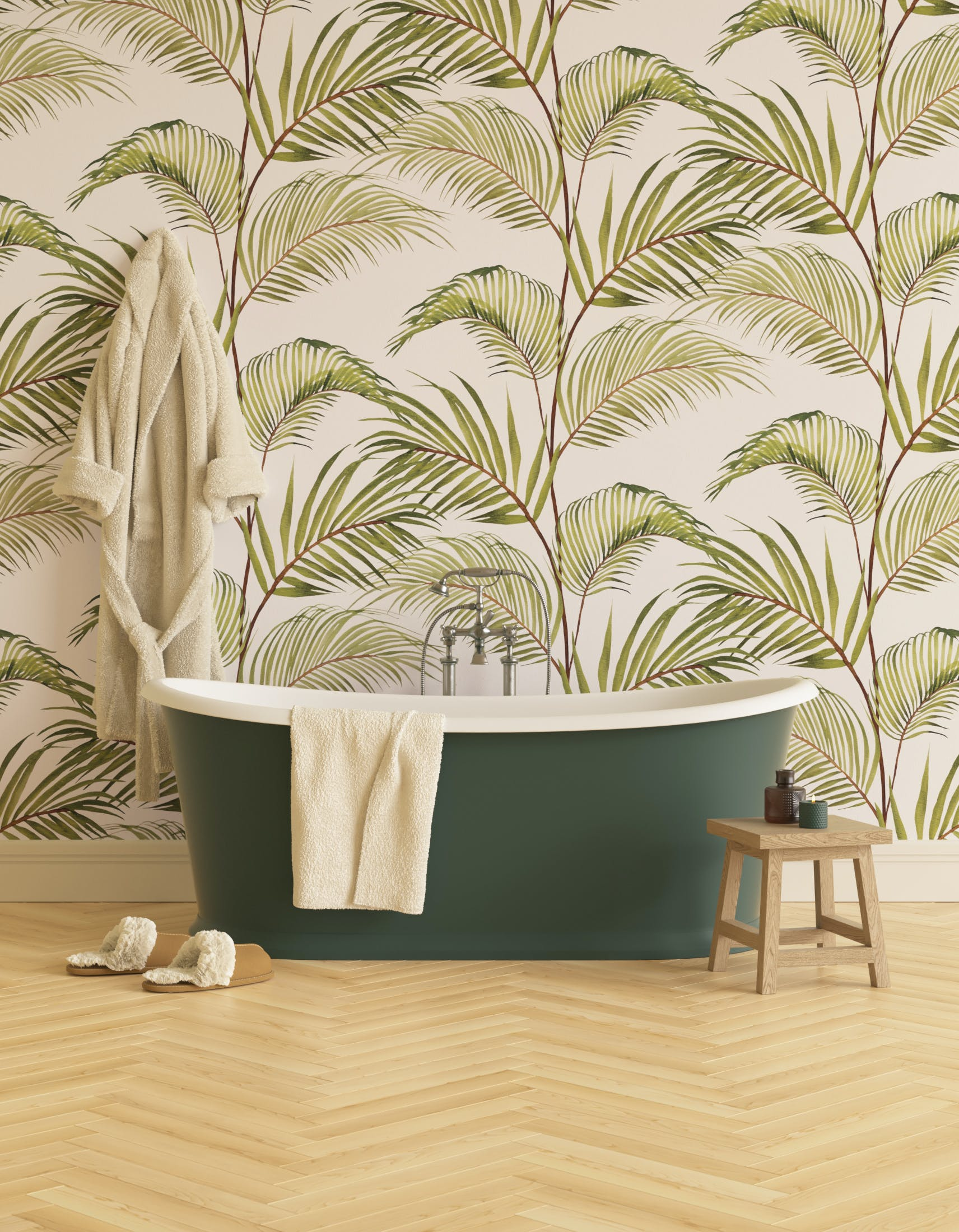 Bathroom decorated with Lick x Belinda Bayley Jungle 03 white and green palm leaf wallpaper