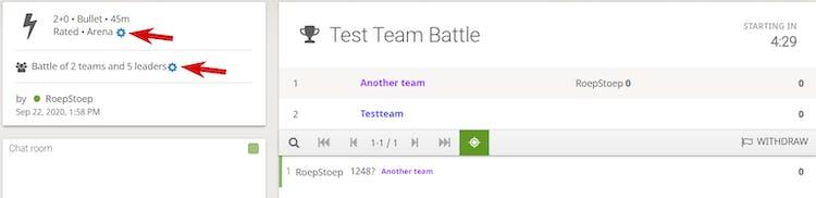 Team battle tournament lobby