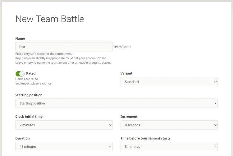 Team battle tournament settings