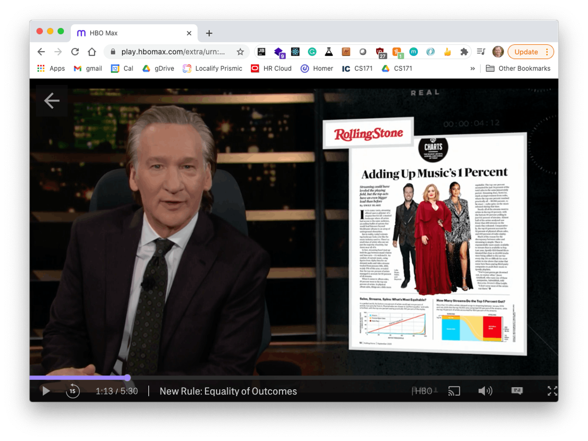 Real-time with Bill Maher talking about the Equality of Outcomes