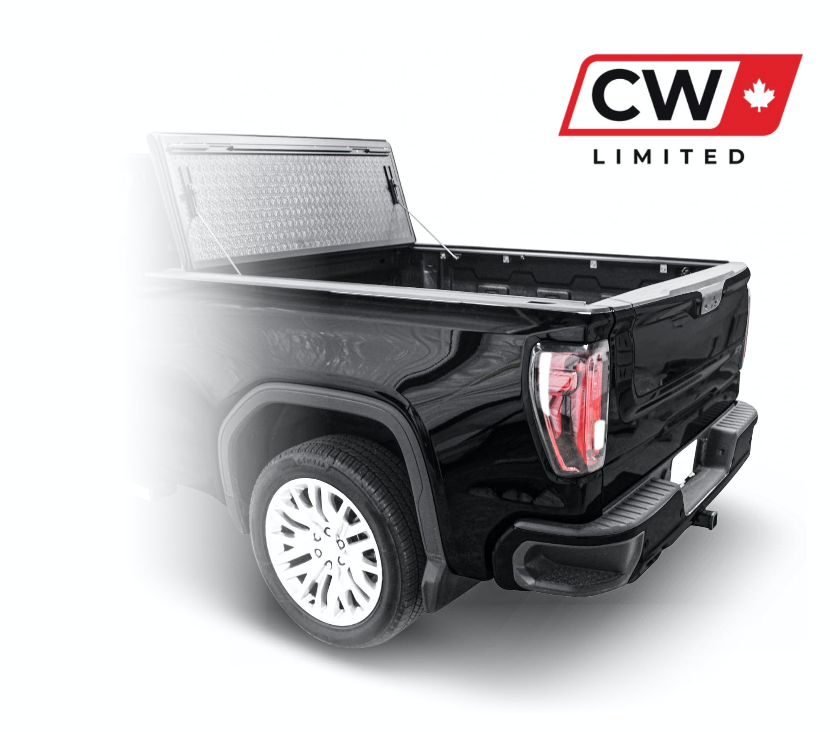 CW Limited project image showing the rear end of a pickup truck and the new CW logo