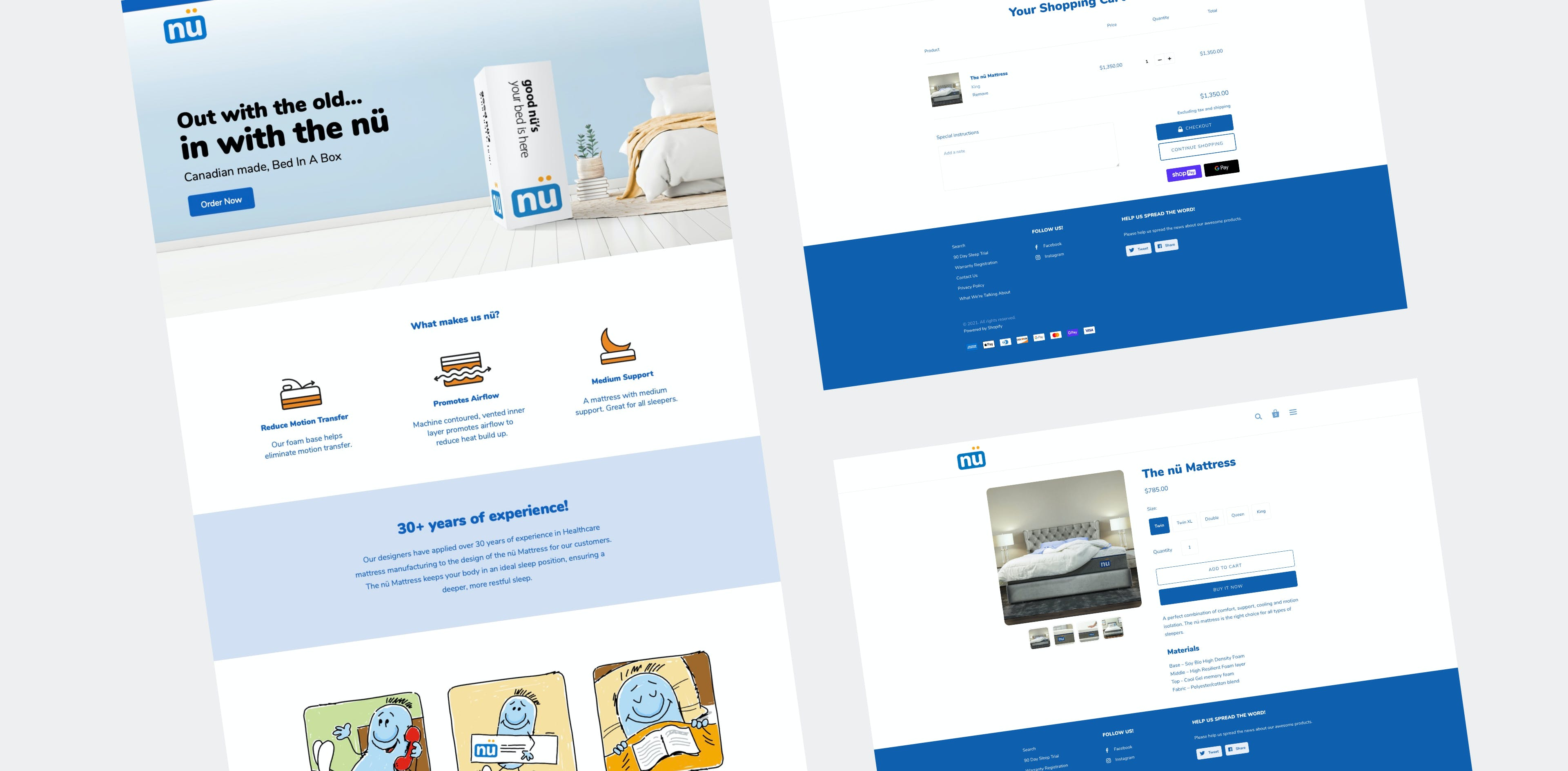 Nu Website Home Page, Cart, and Product Page