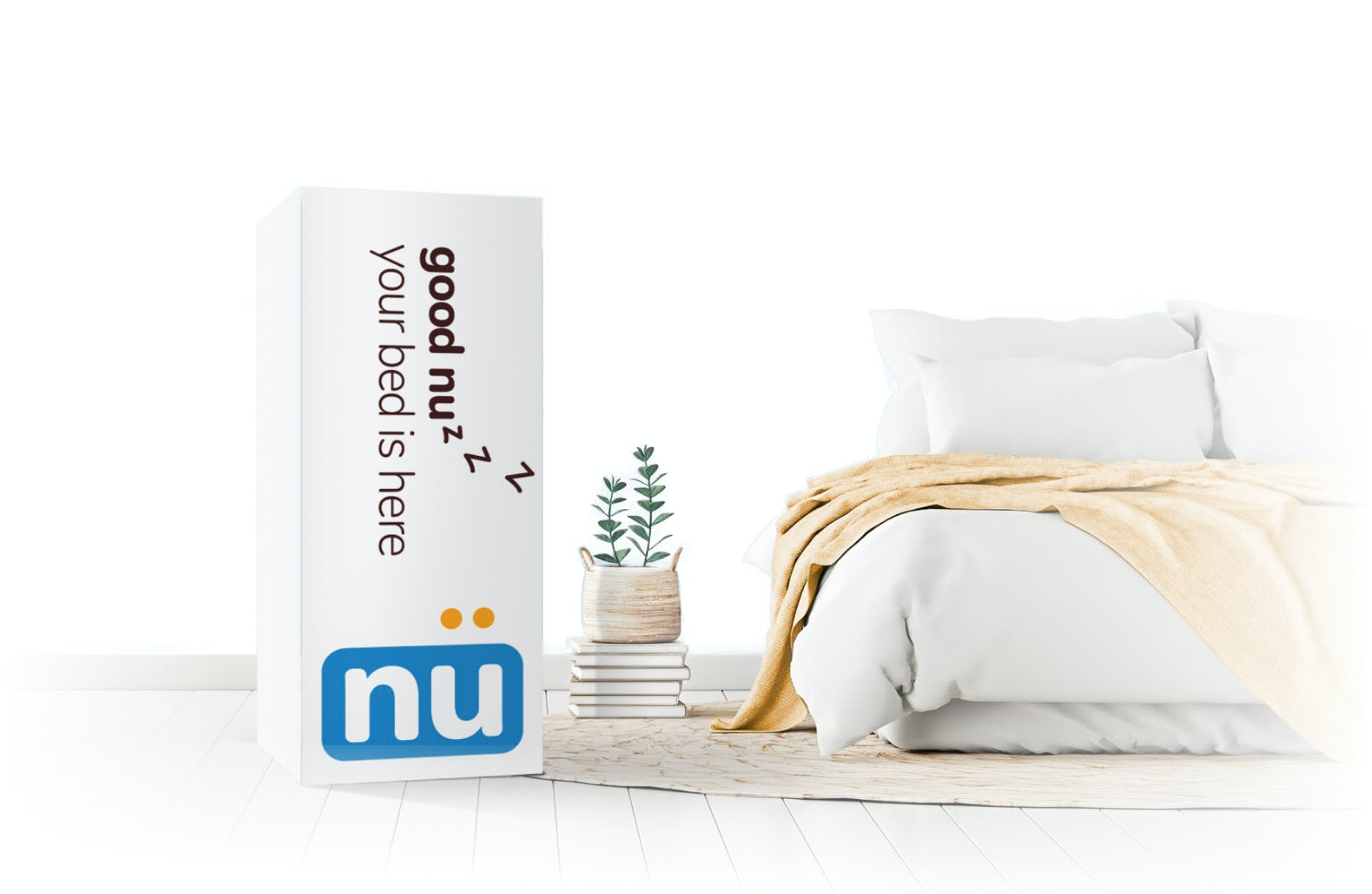 Waterloo Mattress project image showing the Nu mattress box design next to a bed