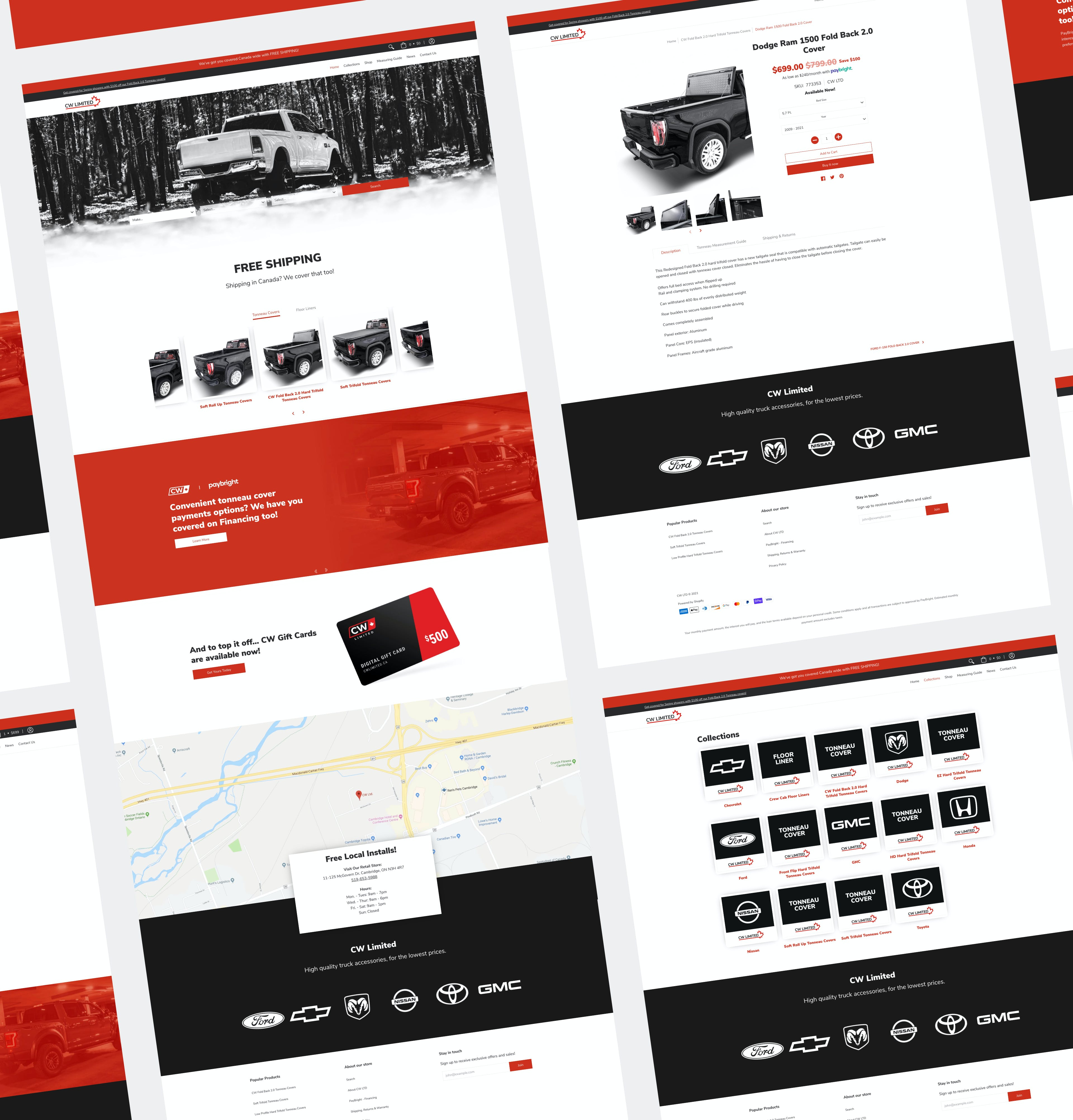 CW Website Grid Showing Home Page, Product Page, Collection Page