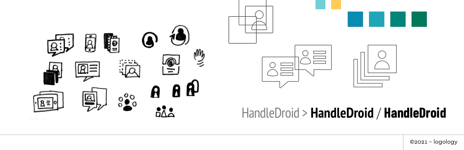 handle droid logo design sketches